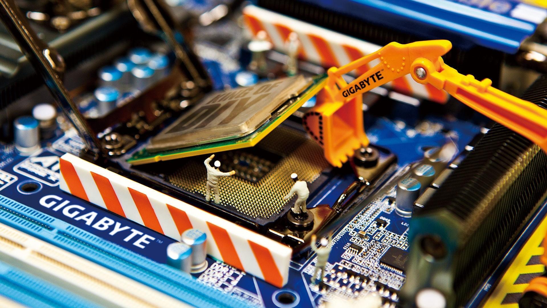 Res: 1920x1080, Herunterladen hd hintergrundbilder gigabyte prozessor hauptplatine chip ...