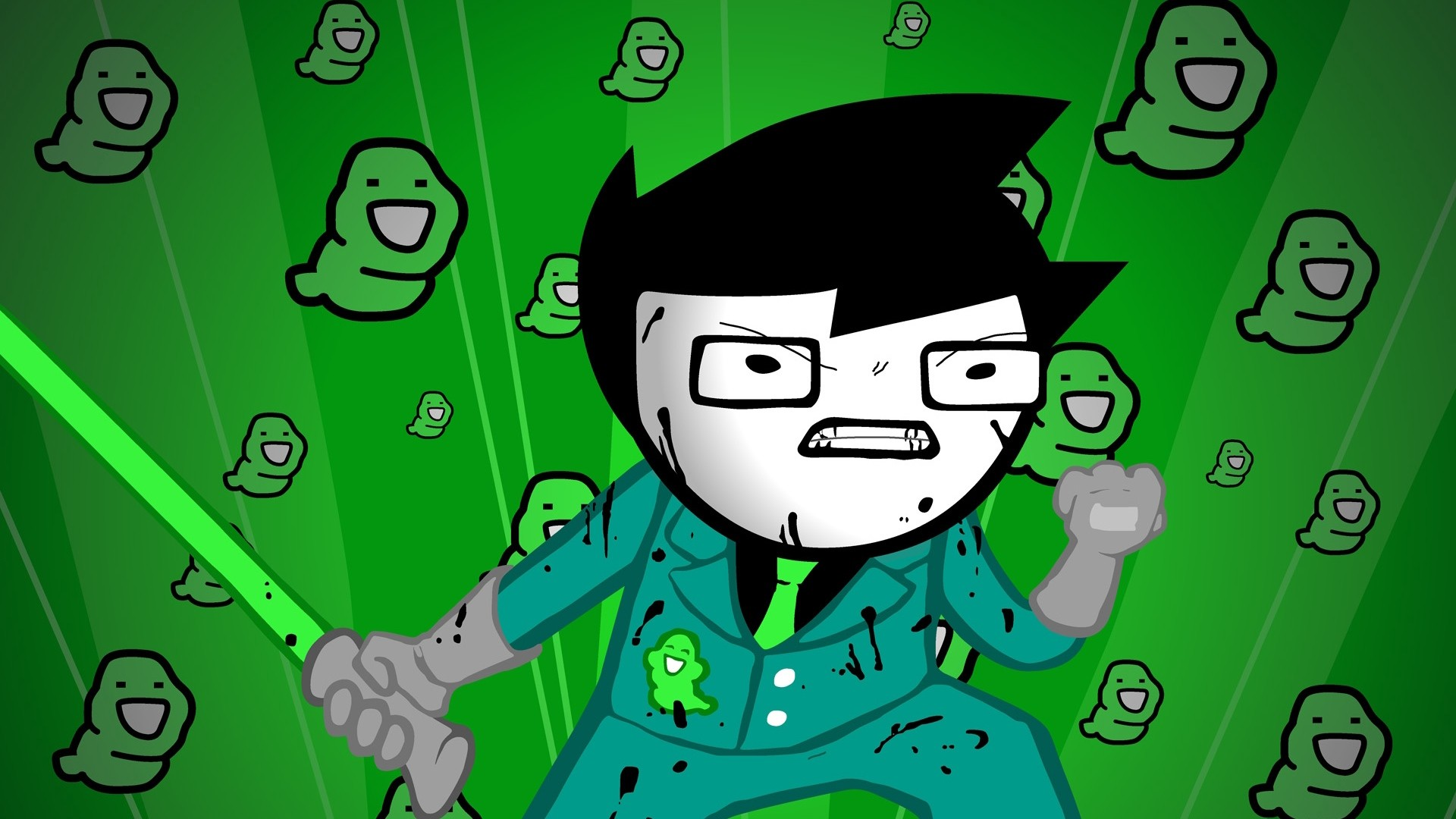 Res: 1920x1080,  Wallpaper green, figure, aggression, style, homestuck