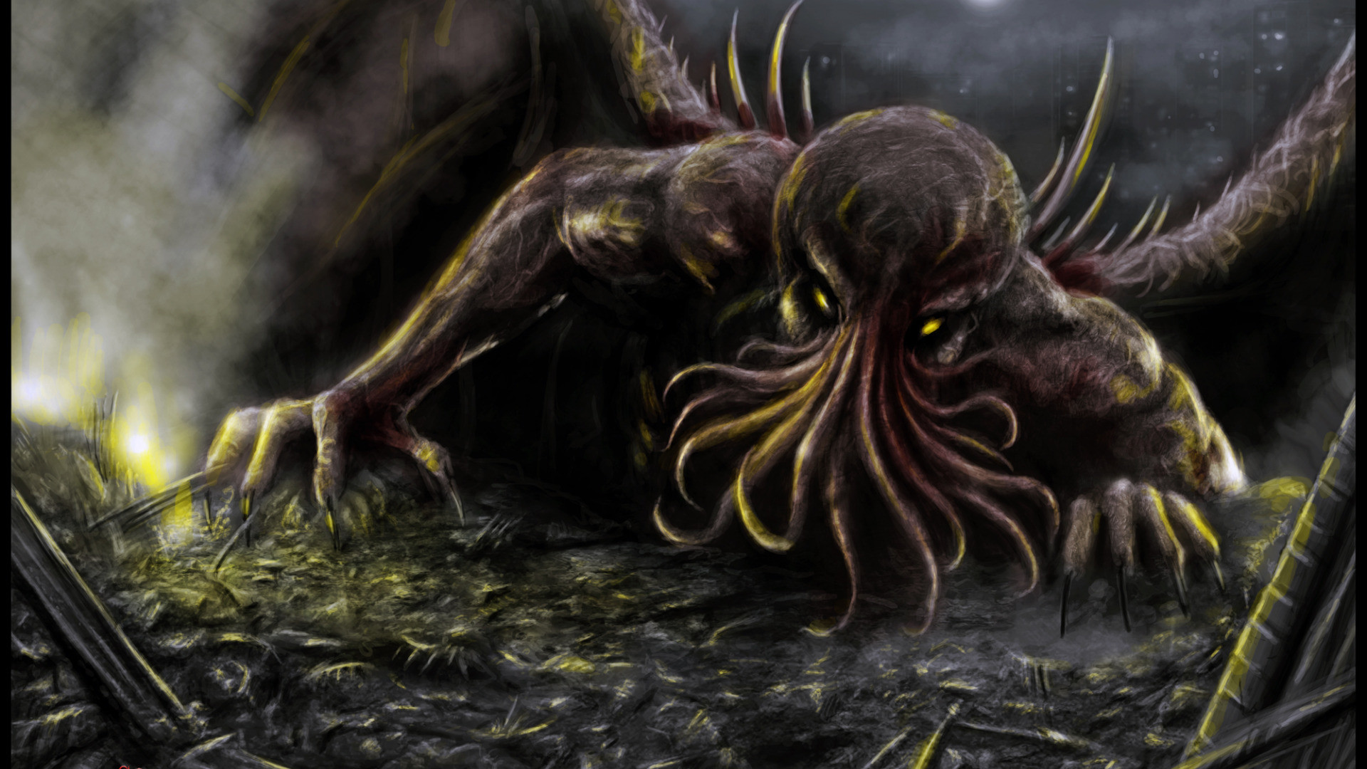 Res: 1920x1080, Lovecraft Wallpaper  Download Wallpaper Cthulhu Lovecraft  Necronomicon S On Under The Ice Creepy