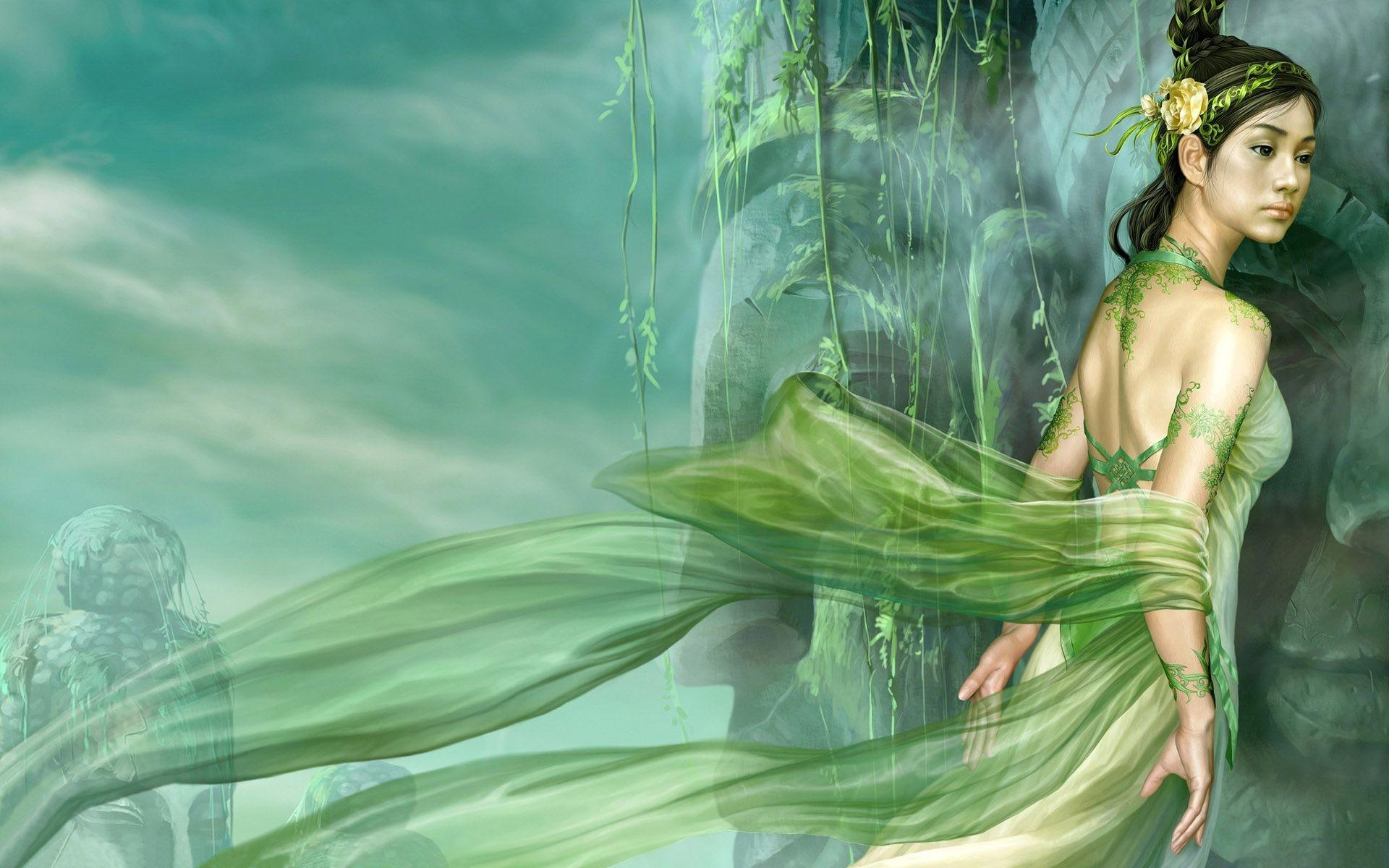 Res: 1920x1200, WOMEN IN GREEN, 3d, abstract, angel, Art, dream, fairy, fantasy, garden,  Girl, GREEN, GREEN LADY, LADY, WOMEN