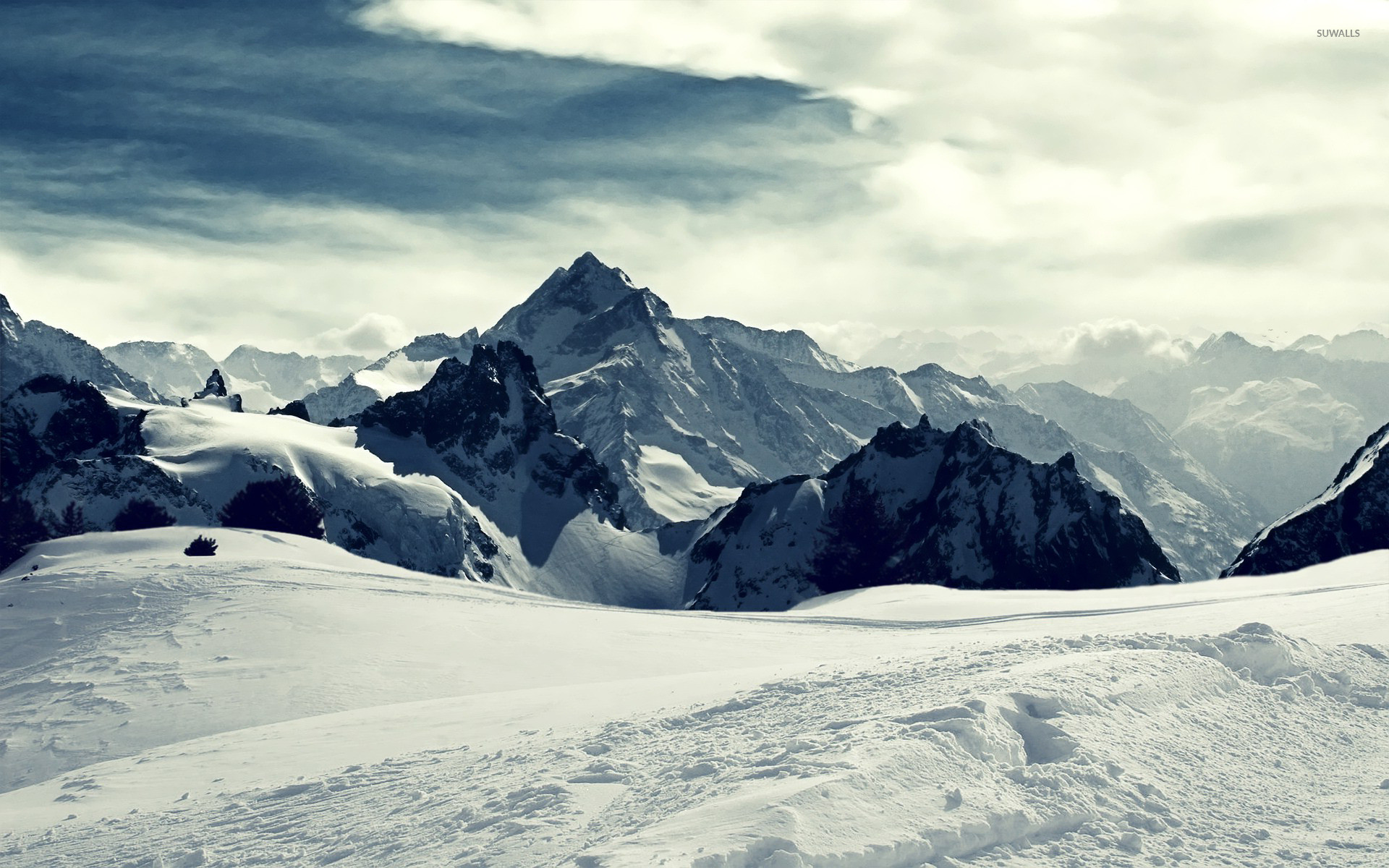 Res: 1920x1200, Snowy mountains wallpaper