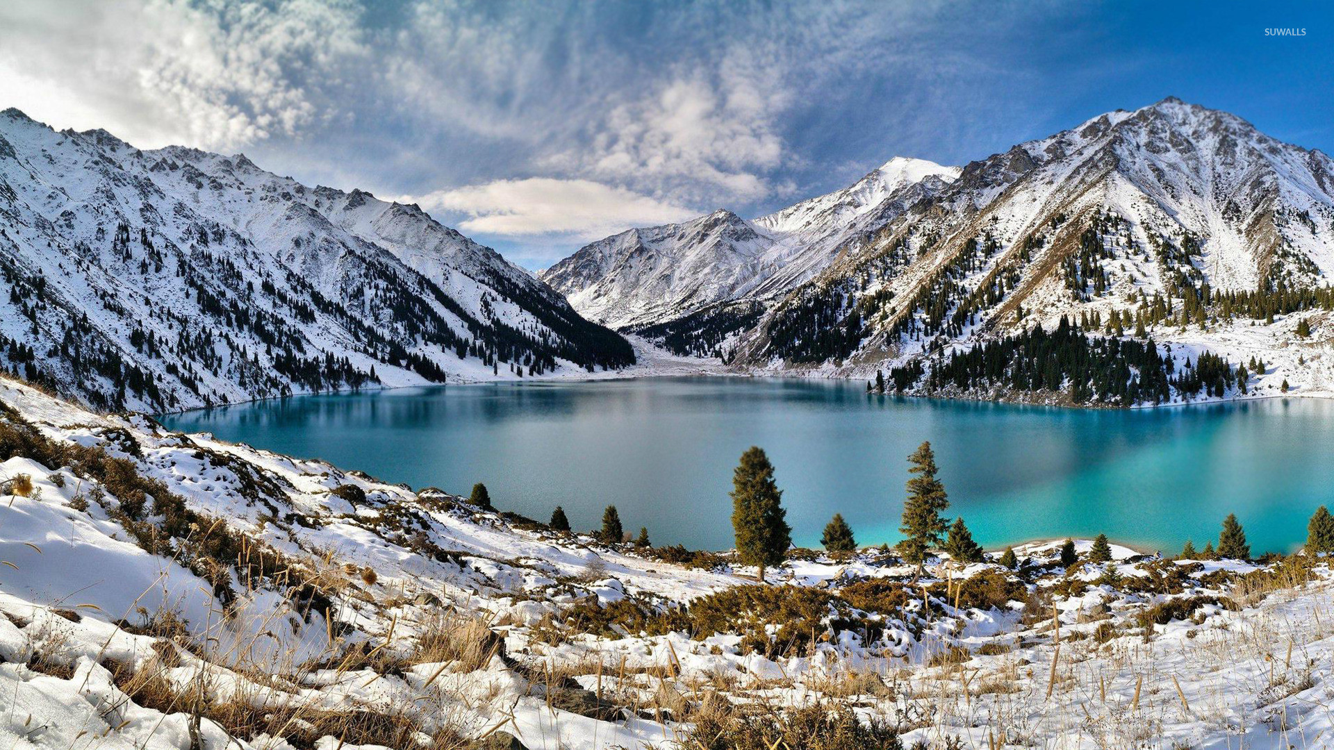 Res: 1920x1080, Snowy mountains lake wallpaper