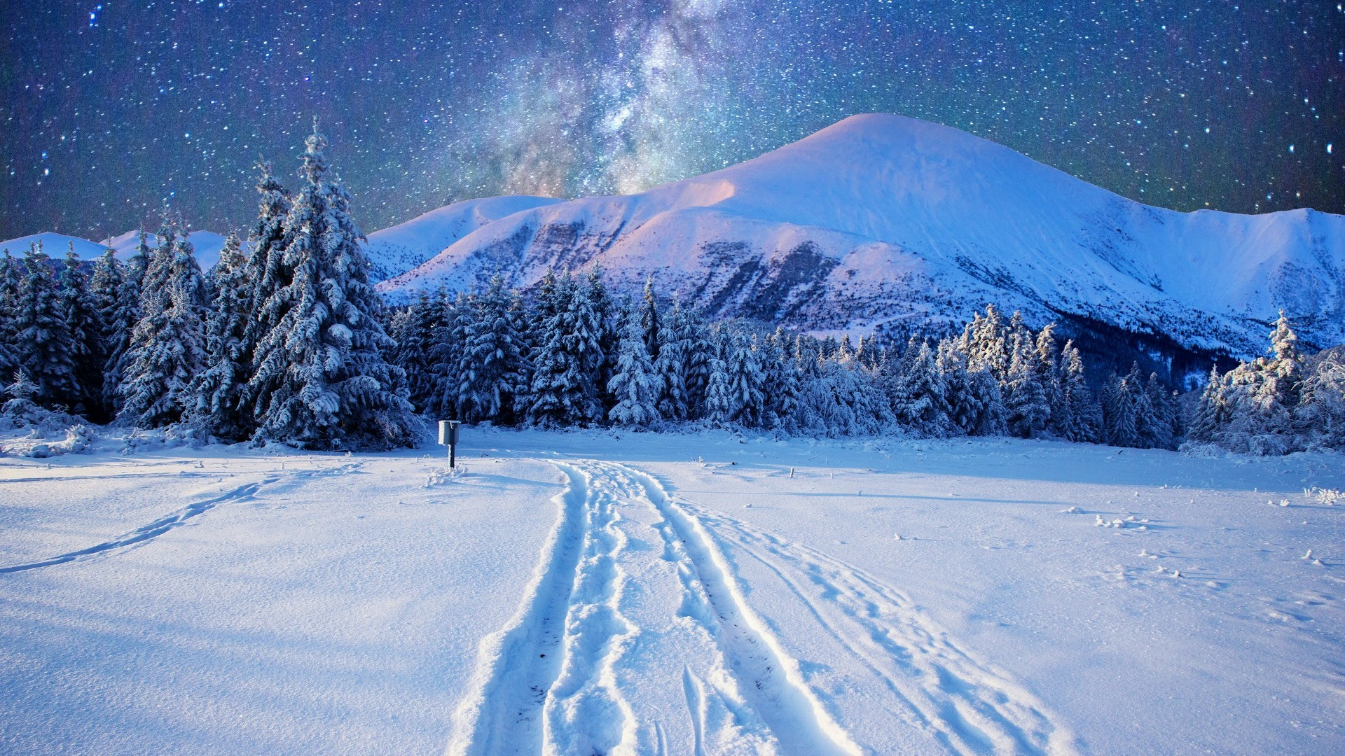 Res: 1920x1080, Milky Way On The Night Sky Over The Snowy Mountains Wallpaper | Wallpaper  Studio 10 | Tens of thousands HD and UltraHD wallpapers for Android, ...