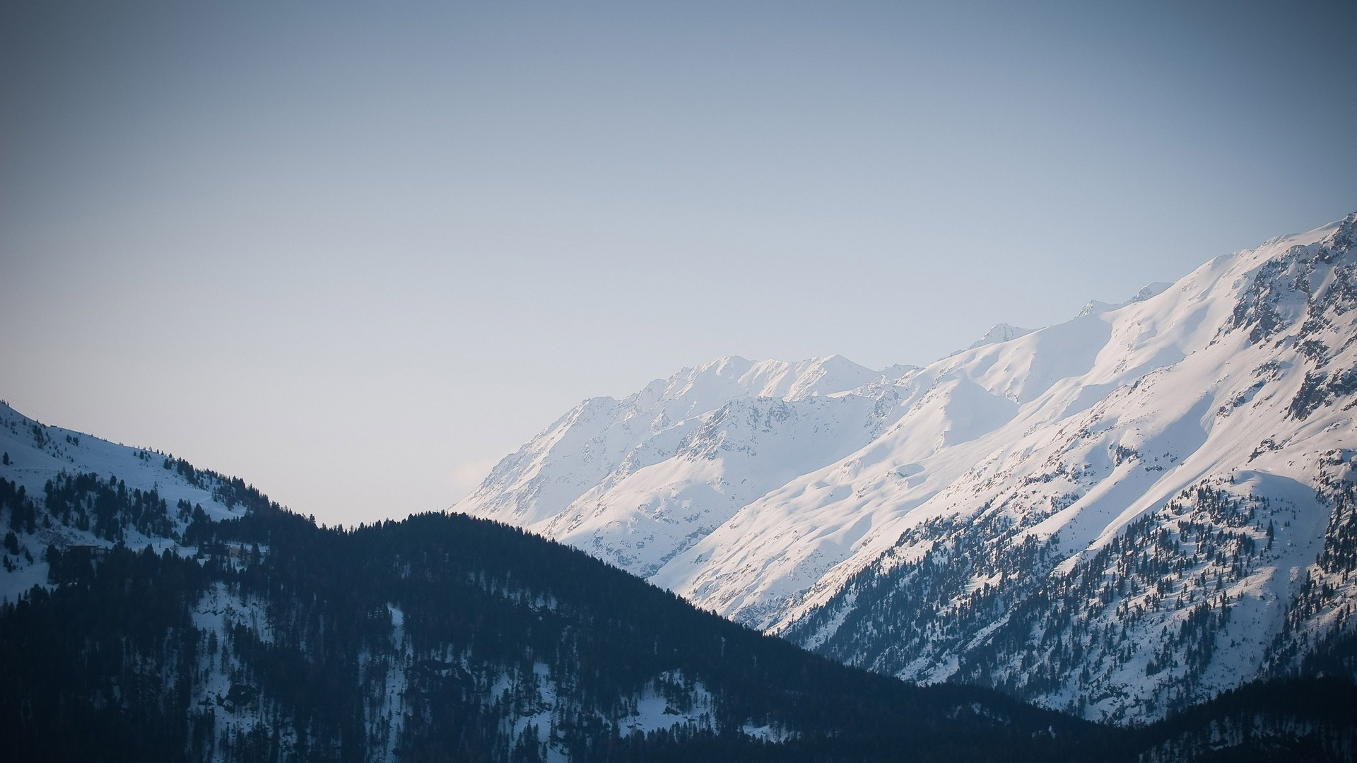 Res: 1920x1080, Snowy mountain range Wallpaper