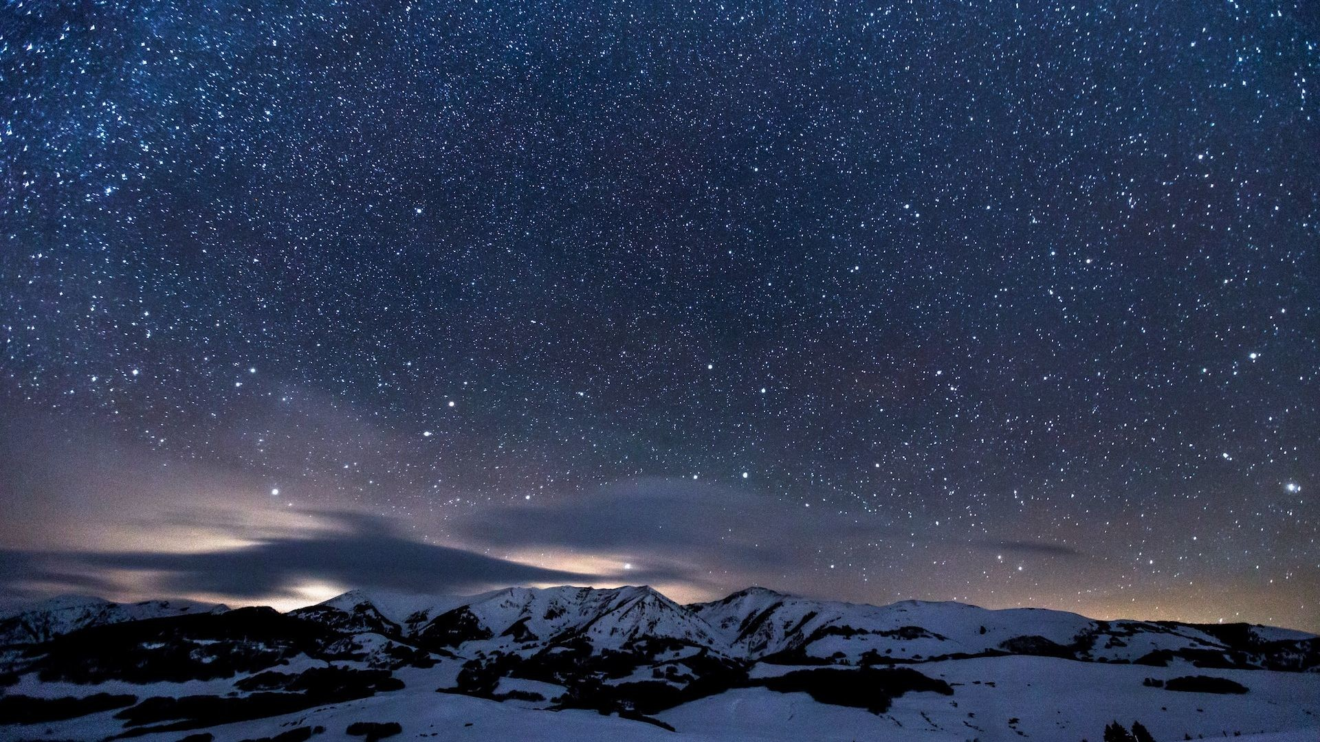 Res: 1920x1080, Star Sprinkled Snowy Mountains