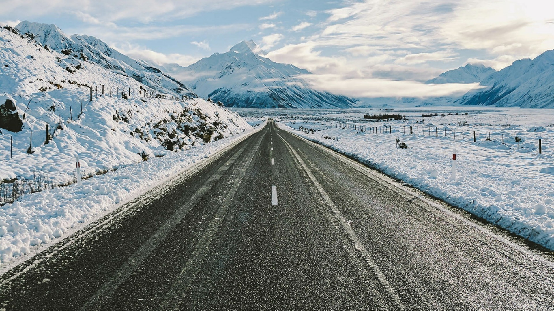 Res: 1920x1080, Road Towards The Snowy Mountains Wallpaper | Wallpaper Studio 10 | Tens of  thousands HD and UltraHD wallpapers for Android, Windows and Xbox