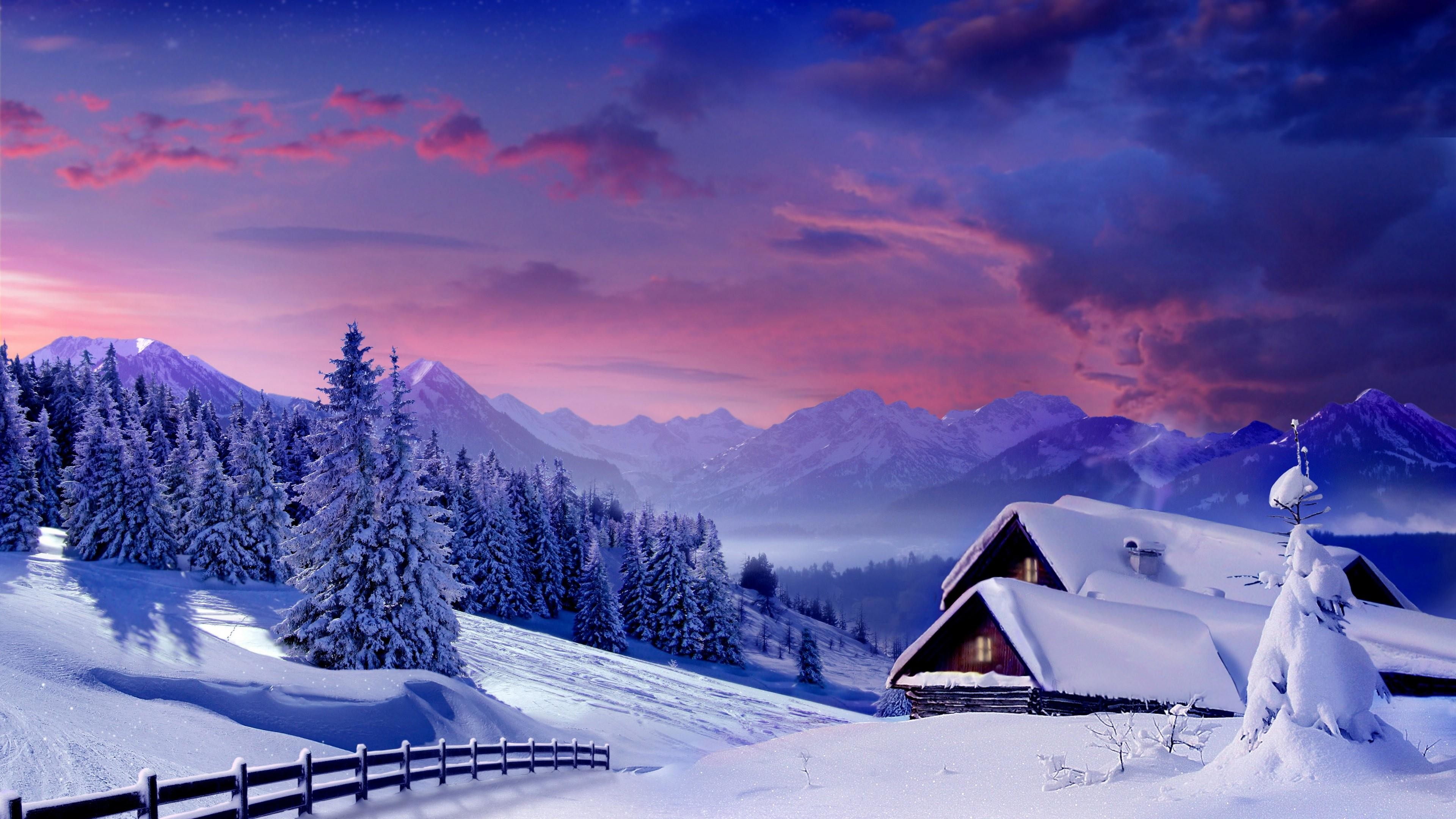 Res: 3840x2160, Snowy House Mountain House Wallpaper | Wallpaper Studio 10 | Tens of  thousands HD and UltraHD wallpapers for Android, Windows and Xbox