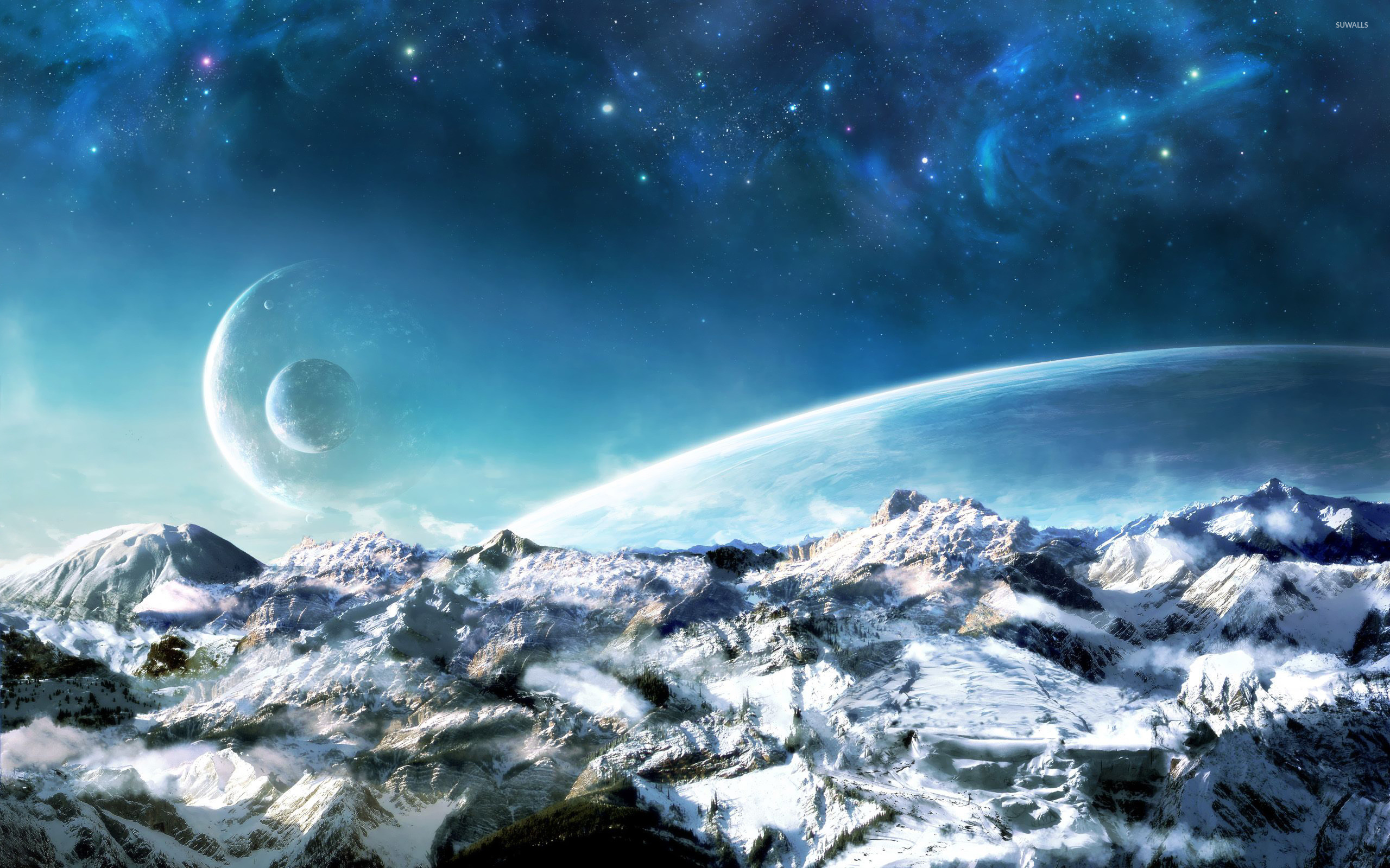 Res: 2560x1600, Planets over the snowy mountains wallpaper