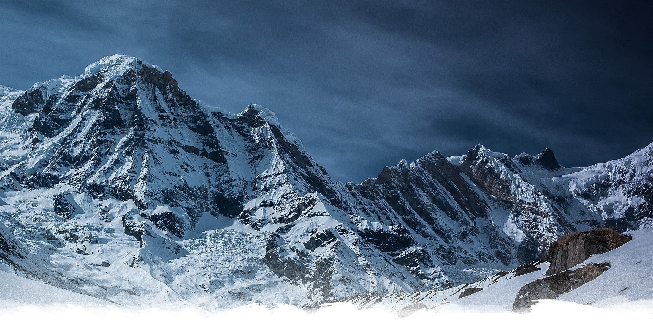 Res: 2200x1080, mountains snowy peak wallpaper and background