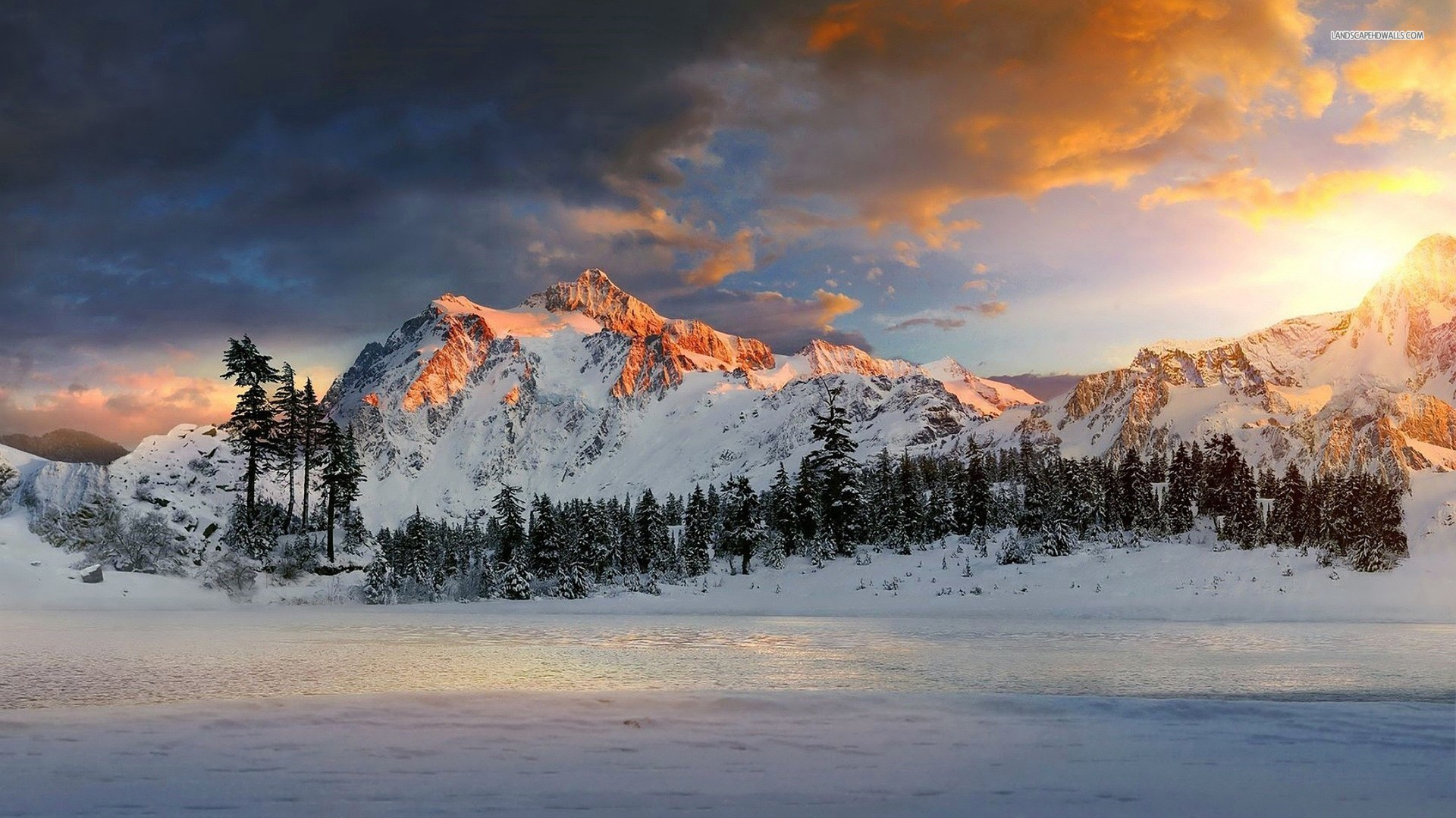Res: 1920x1080, Snowy Mountains Sunset