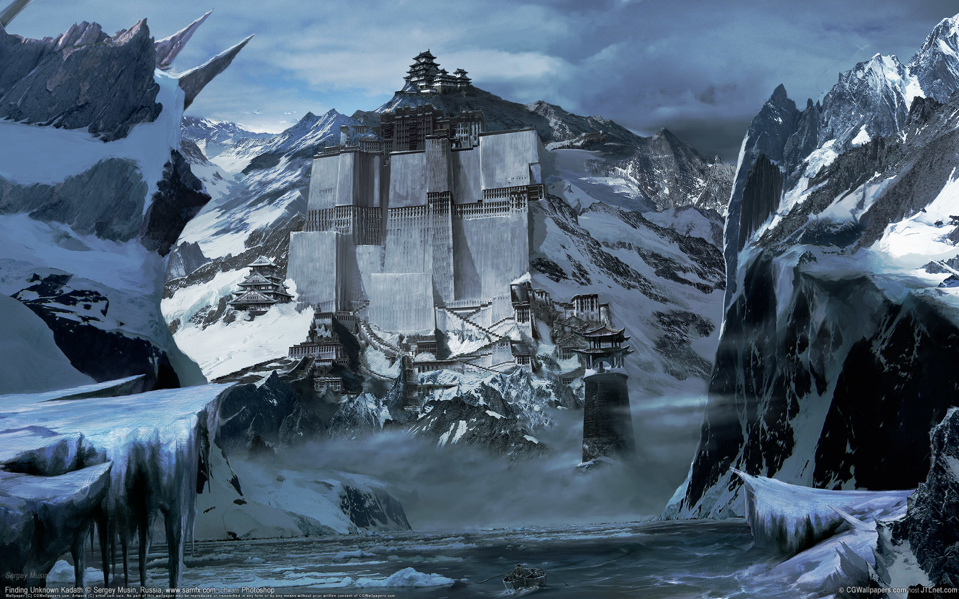 Res: 1920x1200, Snowy Mountain Fortress Wallpaper