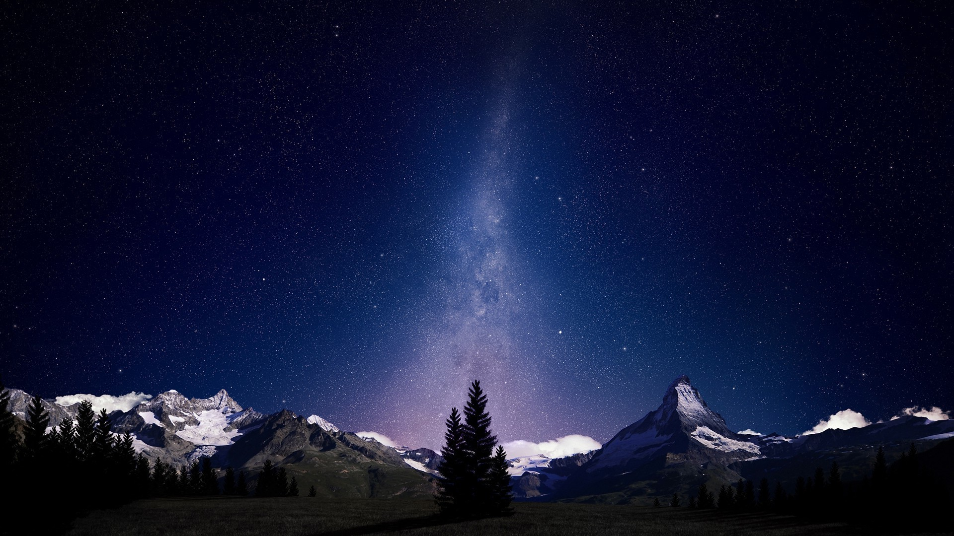 Res: 1920x1080,  nice night sky lights over snowy mountains wallpaper