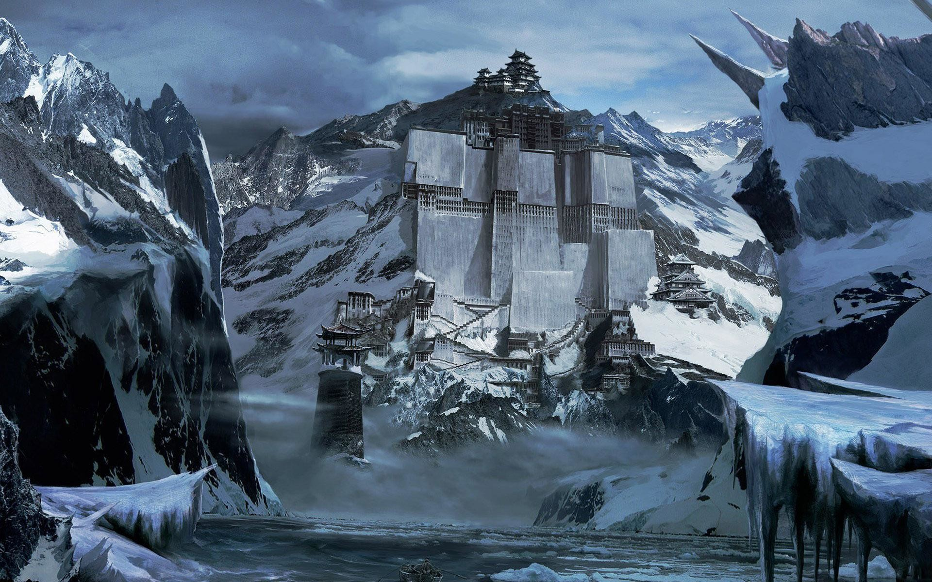 Res: 1920x1200, Fortress in the snowy mountains