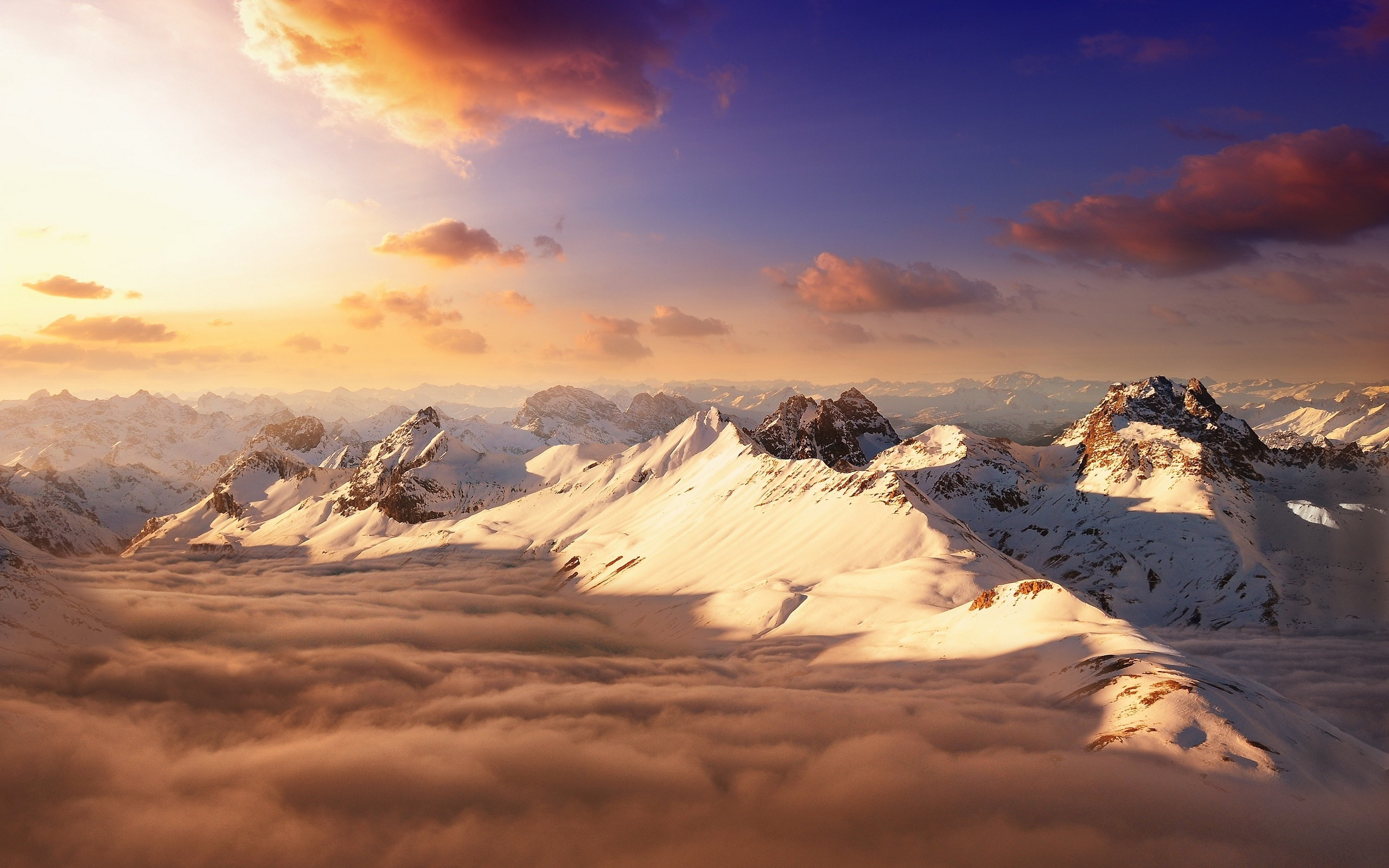 Res: 2560x1600, Snowy Mountain Sunset Wallpapers