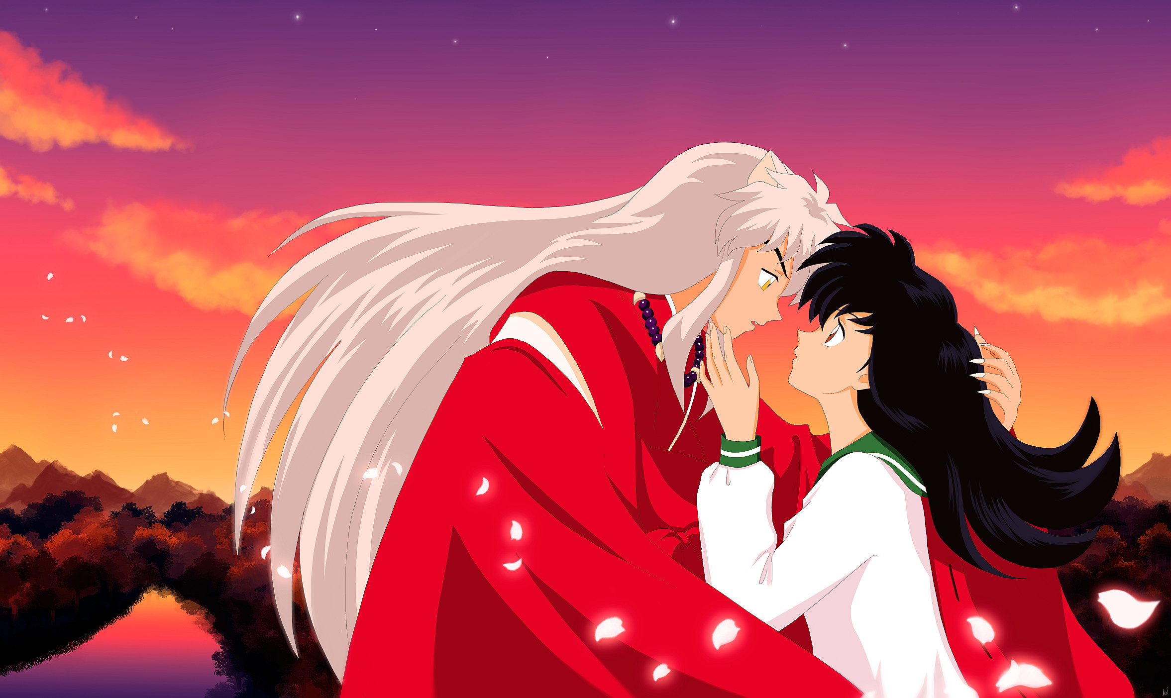 Res: 2353x1403, Click here for better quality Inuyasha and Kagome.