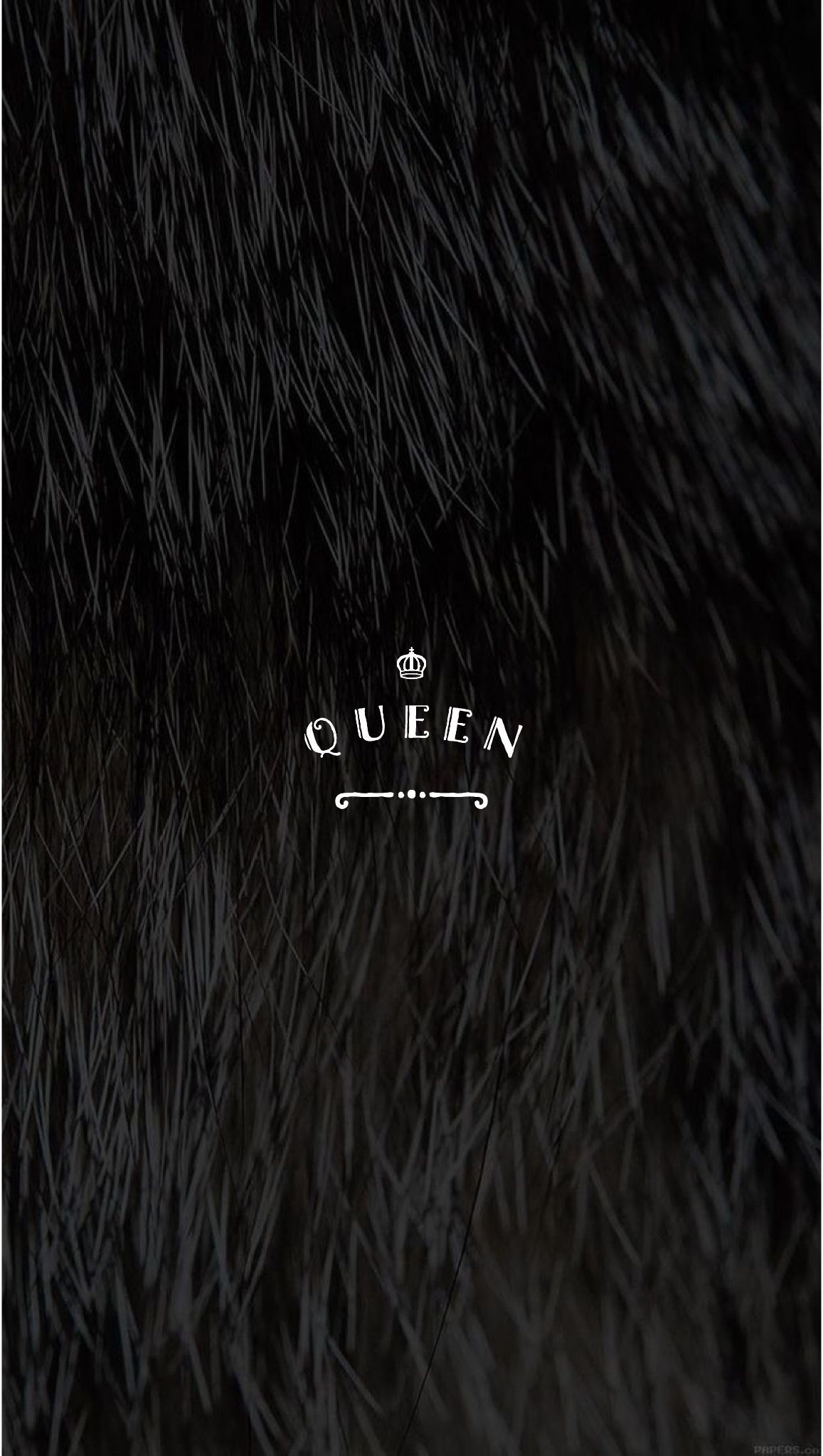 Res: 1157x2048, Black Faux Fur Pretty Positivity™ Queen iPhone Mobile Wallpaper by @EvaLand