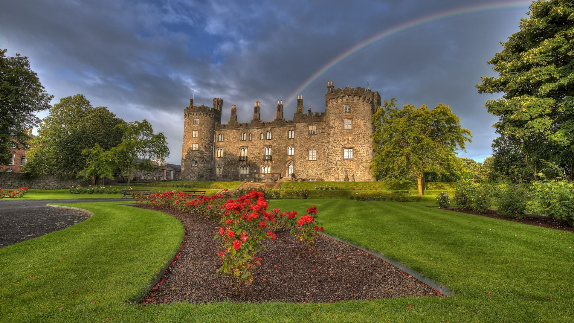 Res: 1920x1080, nature, Landscape, Architecture, Castle, Trees, Grass, Ireland, Garden,  Park, Flowers, Path, Old Building, Rainbows, Clouds Wallpapers HD / Desktop  and ...