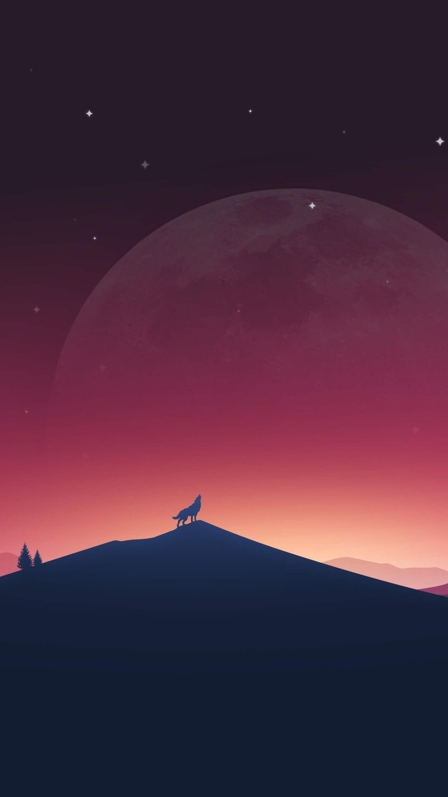 Res: 1440x2560, Download Wolf Howling At The Moon HD wallpaper for Nexus 6P .