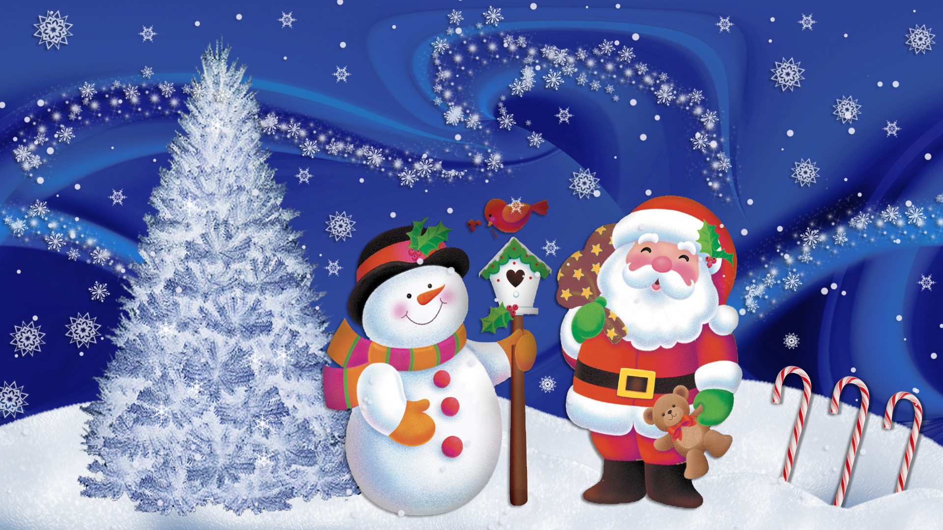 Res: 1920x1080, Funny Santa Claus and snowman on Christmas