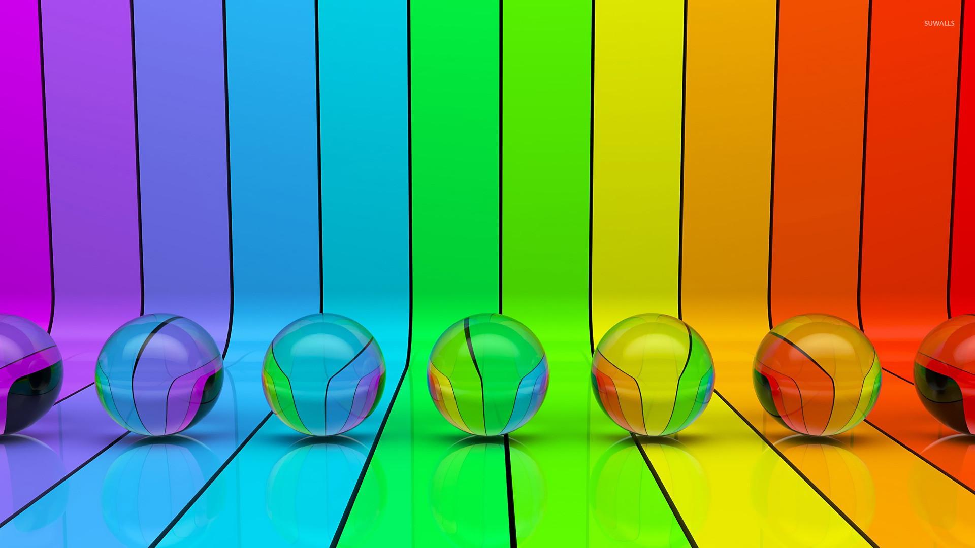 Res: 1920x1080, Transparent spheres on rainbow stripes wallpaper