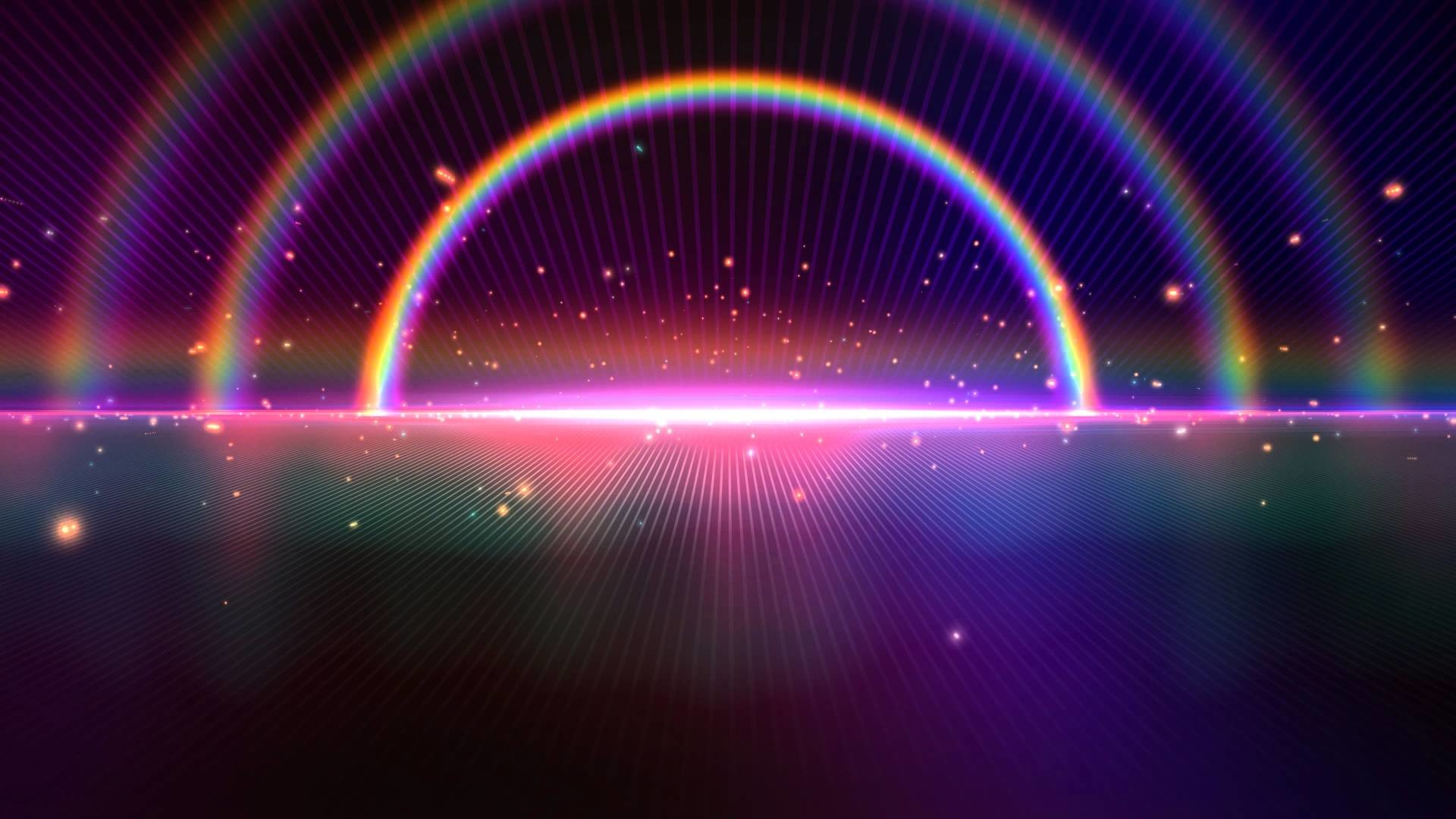 Res: 1920x1080, 4K Tripple Rainbow Sparkling Space Horizon Beautiful Wallpaper Background  Video 2160p Animation