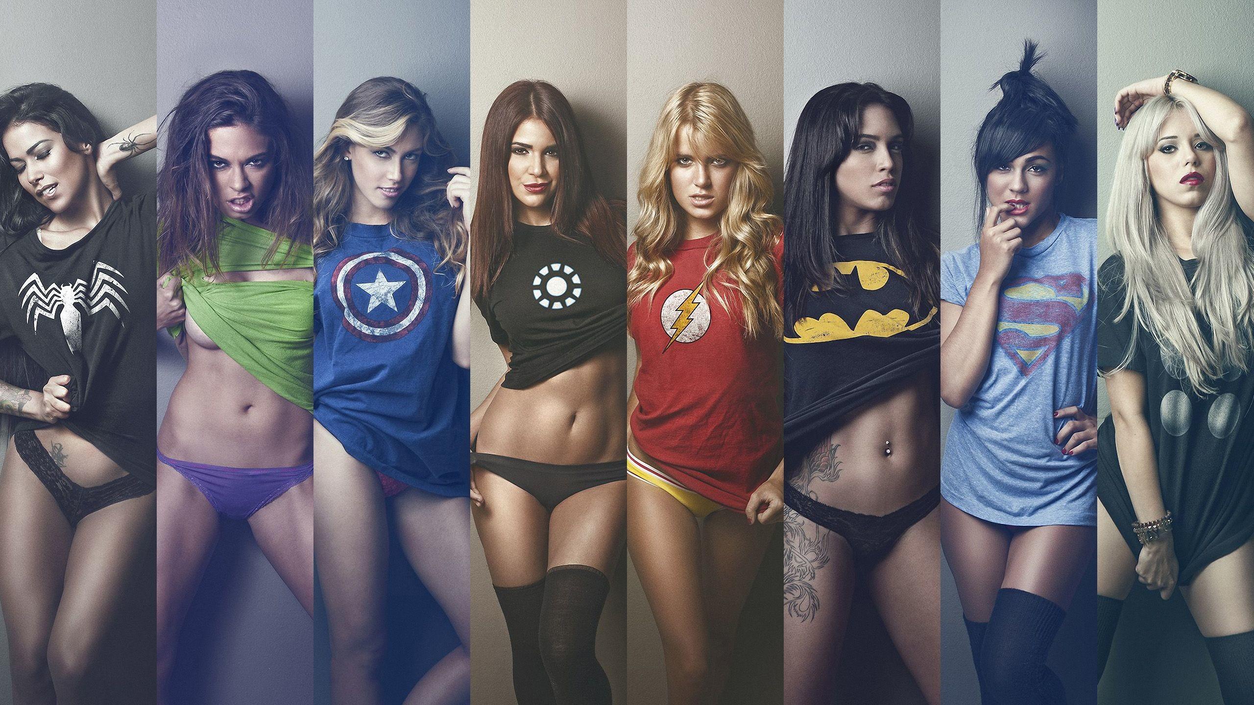 Res: 2560x1440, Girls Wearing Superhero Shirts wallpaper