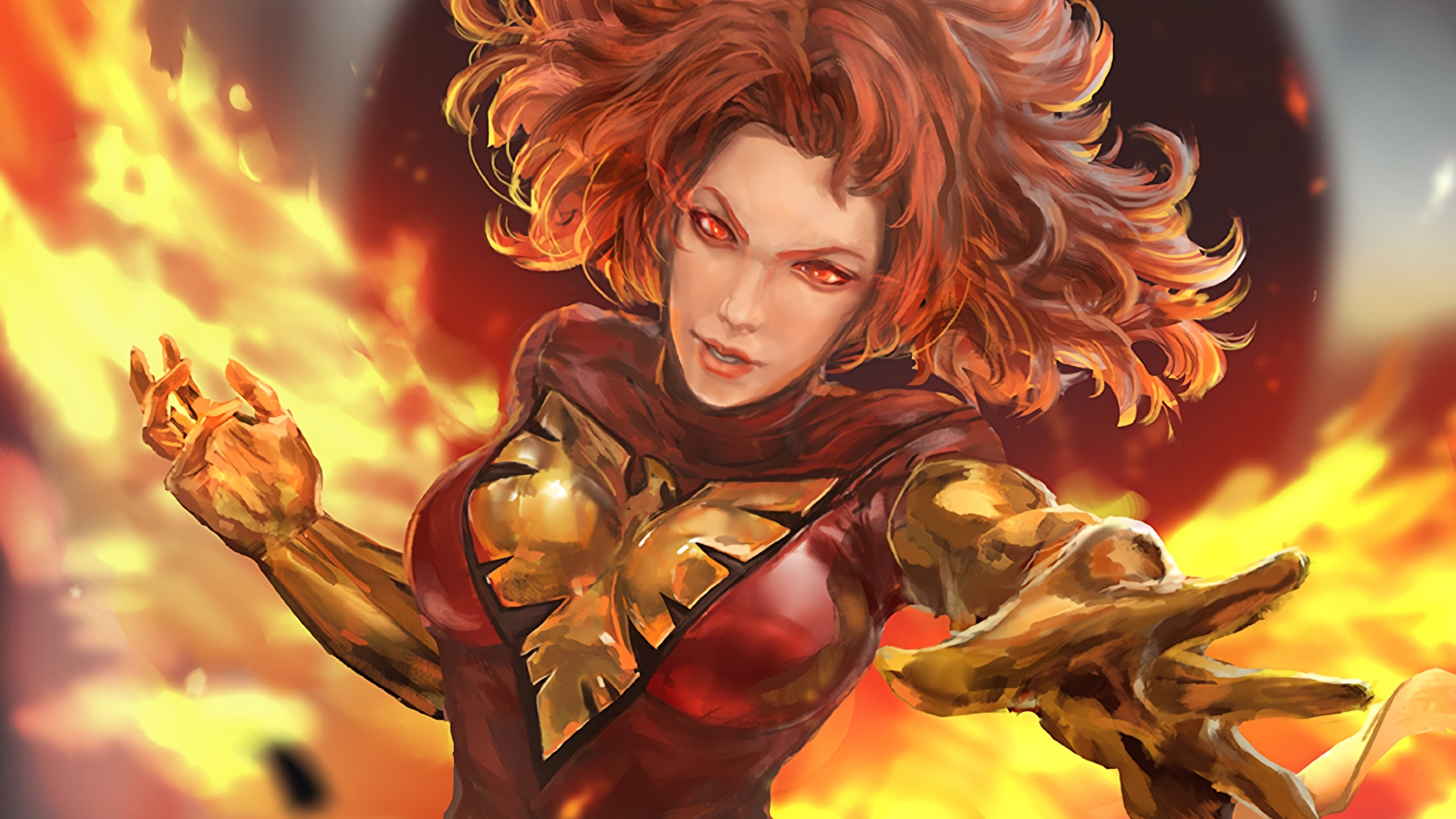Res: 3840x2160, X-men, Jean Grey, Dark Phoenix, Marvel Girl, Red Eyes,
