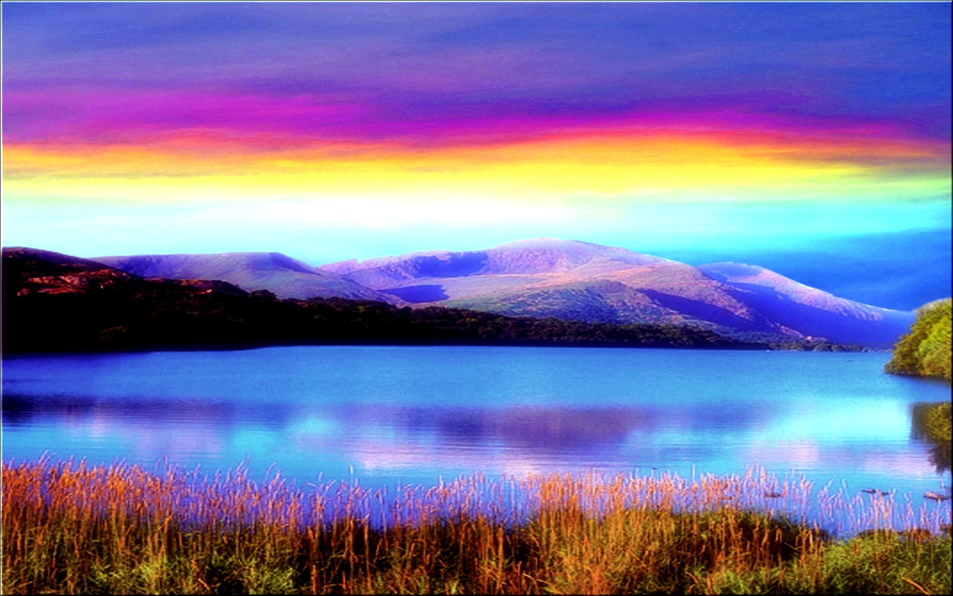 Res: 1920x1200, Beautiful Rainbow In Lake Wallpaper Photography Wallpaper