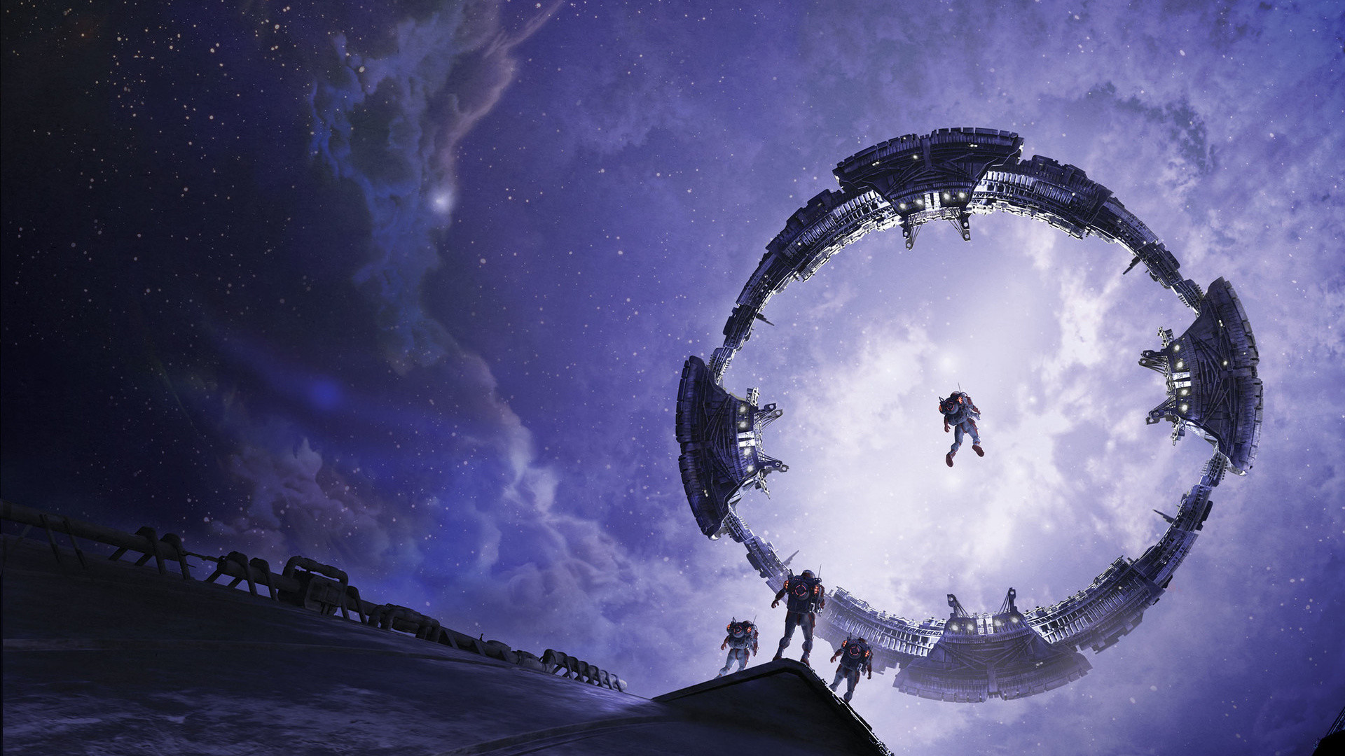 Res: 1920x1080,  wallpaper Space station, astronaut, space, fantasy, art
