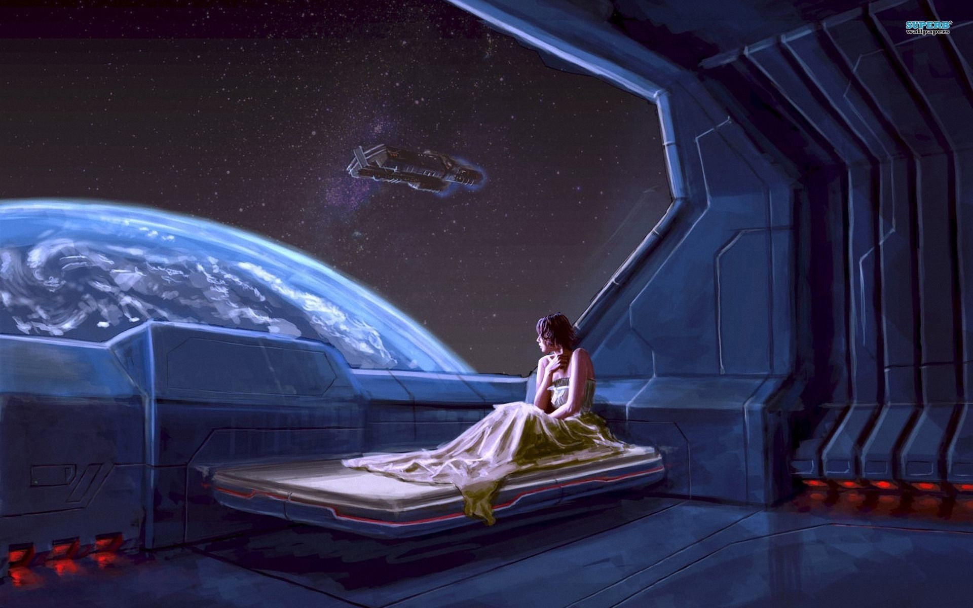 Res: 1920x1200, Girl in a spaceship wallpaper - Fantasy wallpapers -