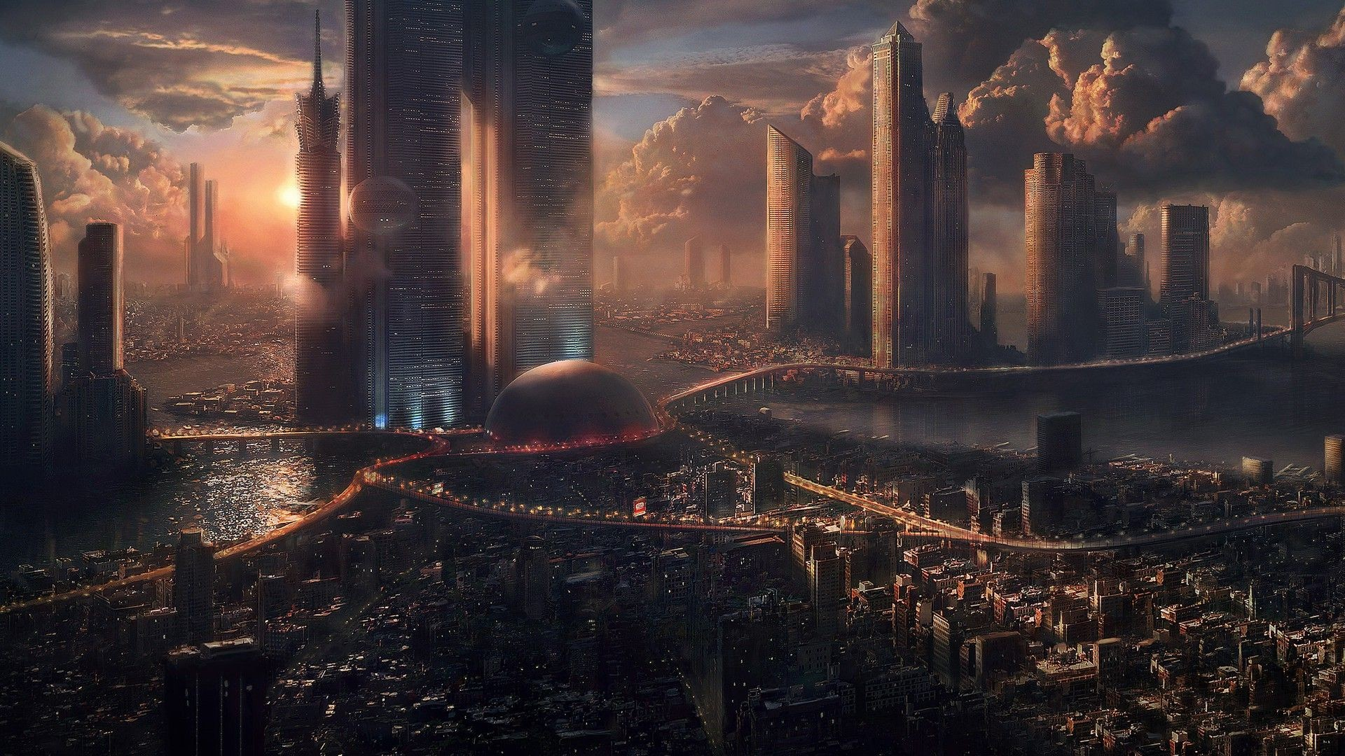 Res: 1920x1080, Download HD futuristic, Landscape, Cityscape Wallpapers