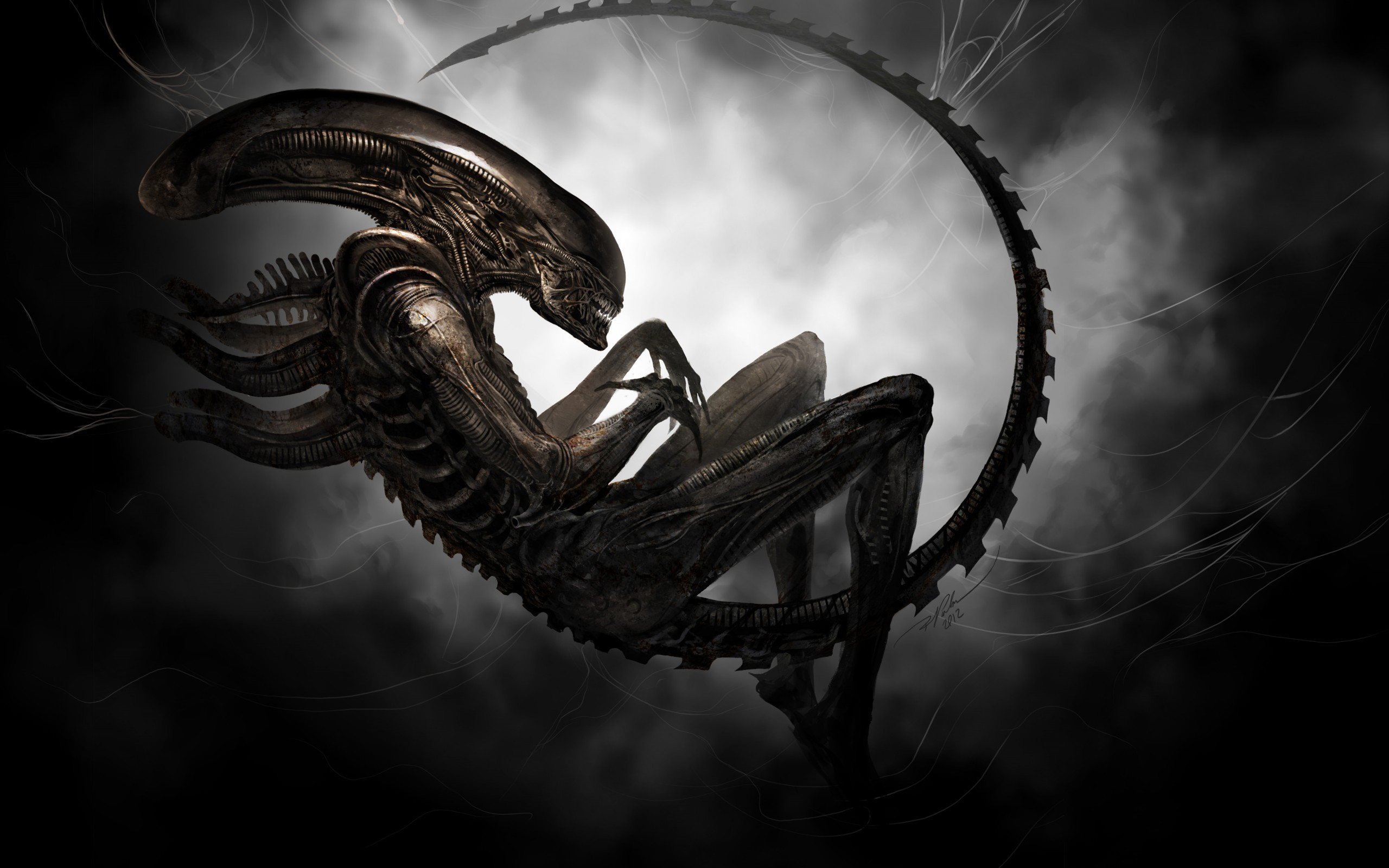 Res: 2560x1600, aliens, Xenomorph, Artwork, Digital art