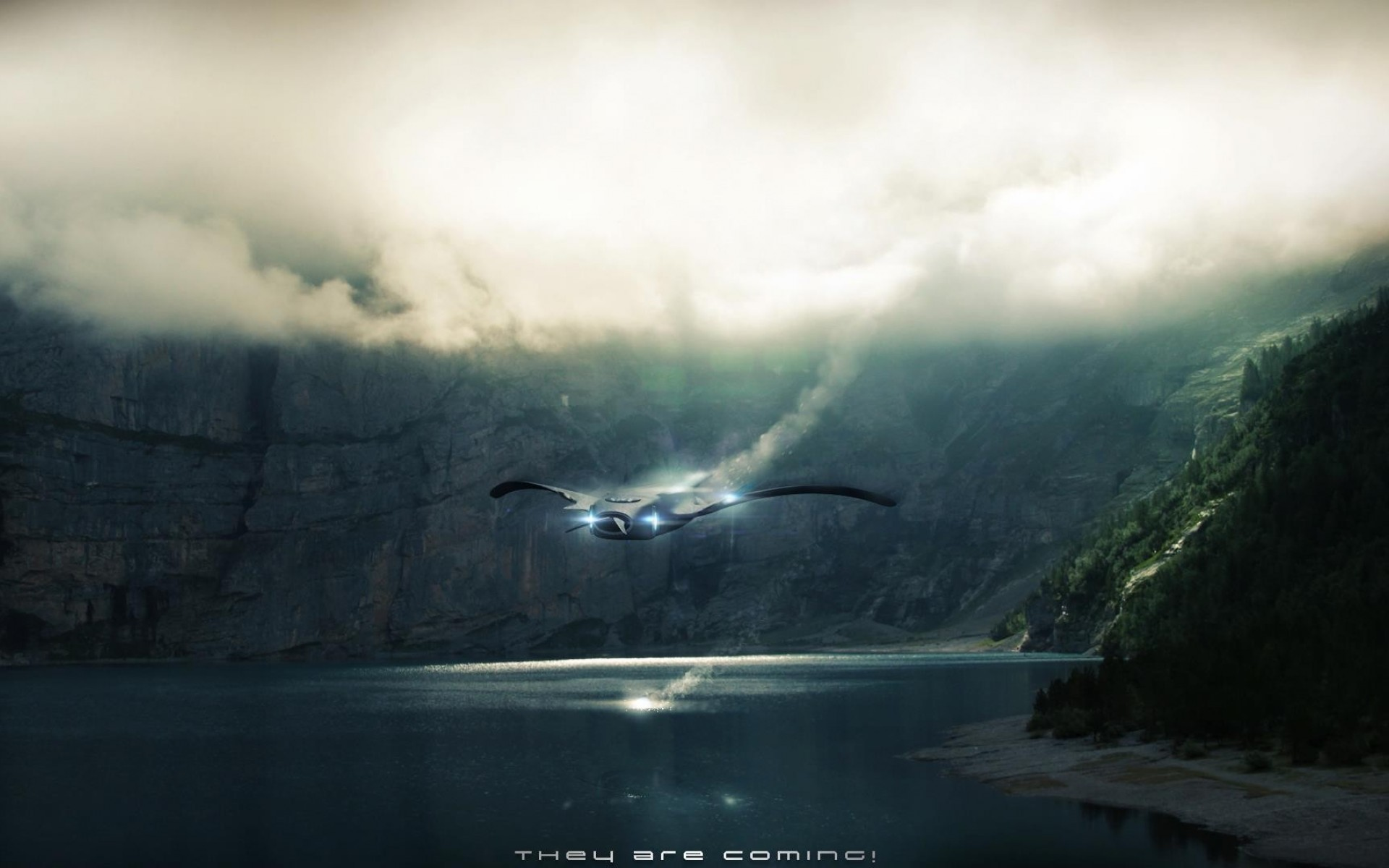 Res: 1920x1200, Fantasy art spaceships ufo lakes aliens photoshop wallpaper |  |  113151 | WallpaperUP