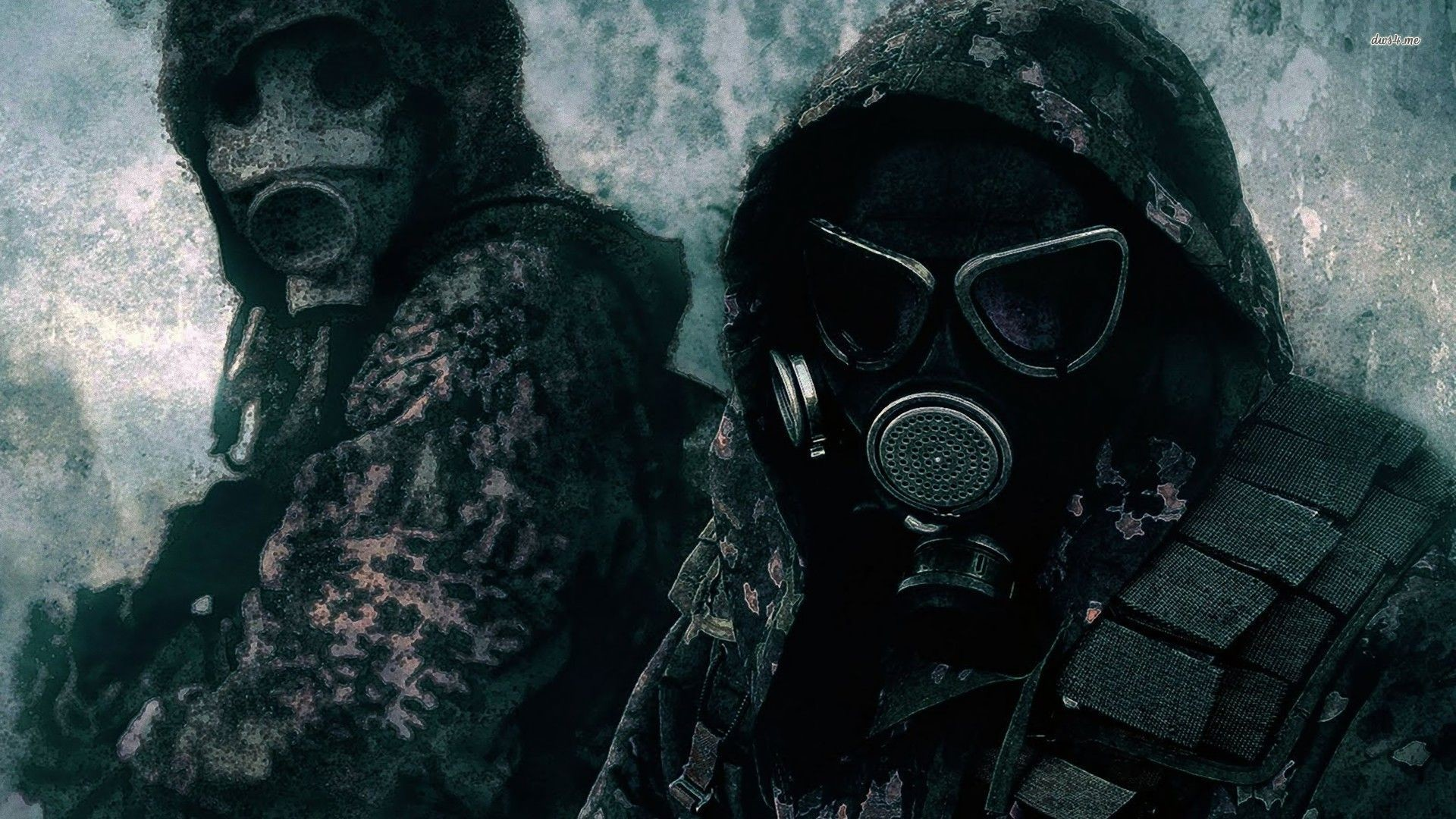 Res: 1920x1080, ... Soldiers in gas masks wallpaper  ...