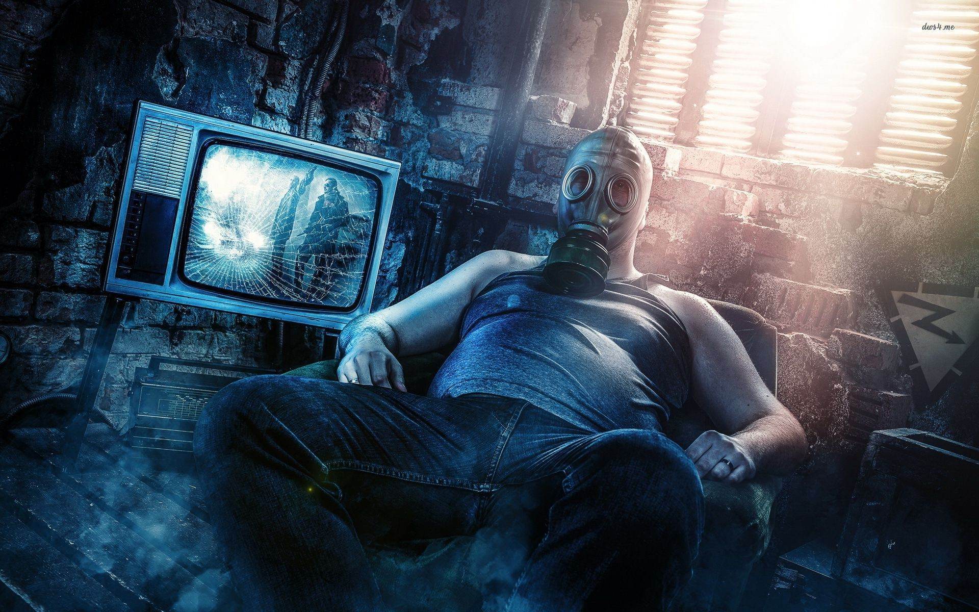 Res: 1920x1200, Sitting with a gas mask wallpaper - Digital Art wallpapers - #17002
