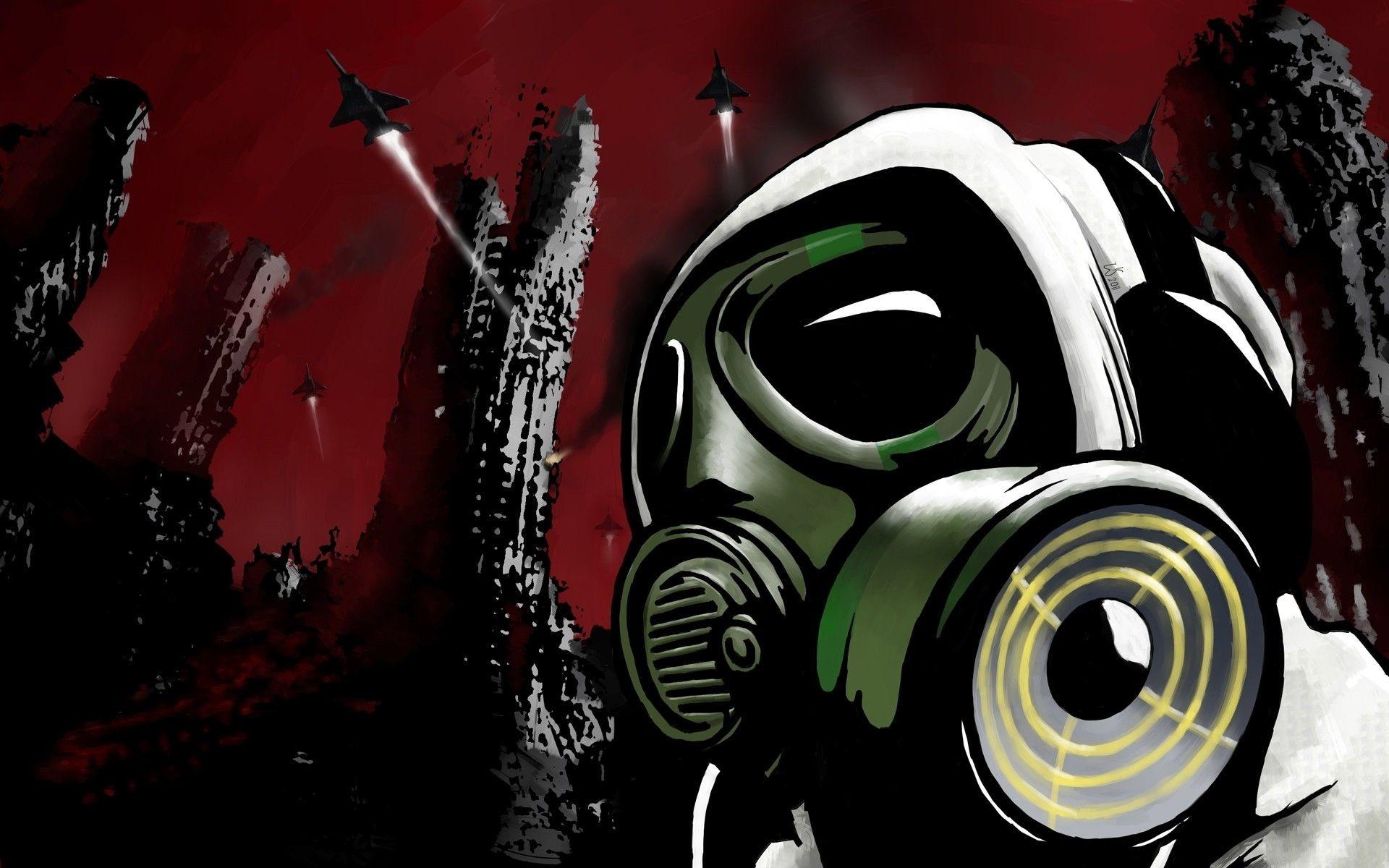 Res: 1920x1200, Dark Gas Mask Mask Graffiti Post Apocalyptic Wallpaper
