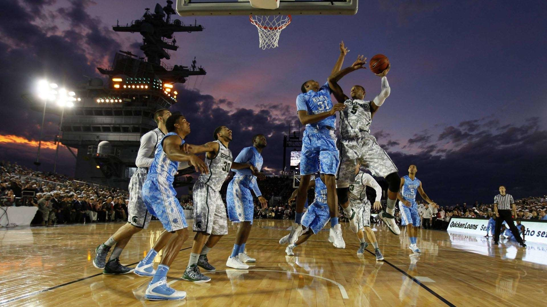 Res: 1920x1080, College basketball game on an aircraft carrier HD Wallpaper .