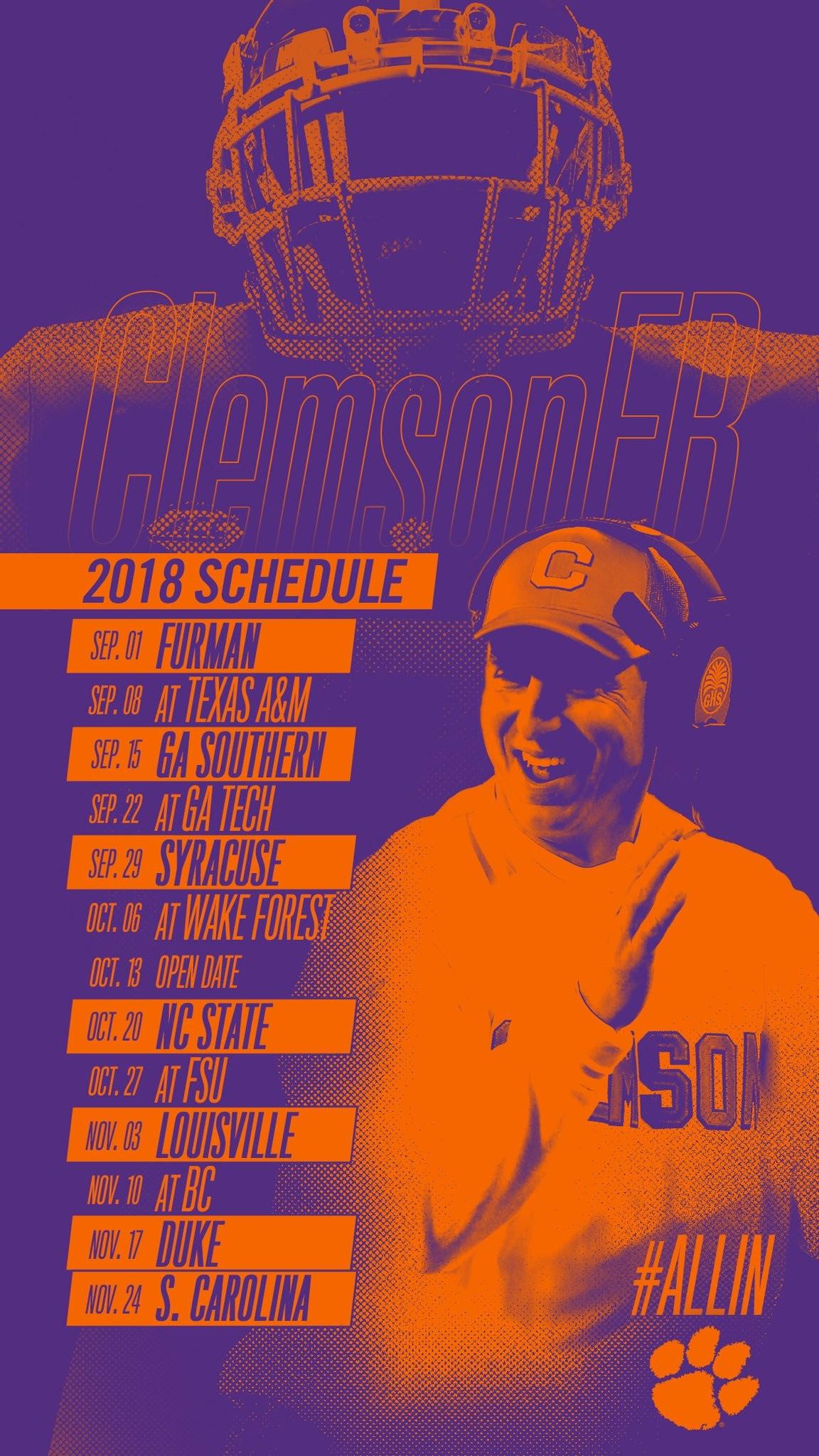 "Res: 1152x2048, Clemson Football on Twitter: ""Phone wallpapers featuring 2️⃣0️⃣1️⃣8️⃣  schedule 👇… """