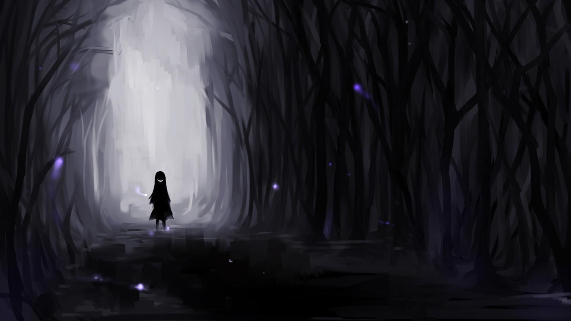 Res: 1920x1080, Creepy dark forest evil smiles anime drawn  wallpaper