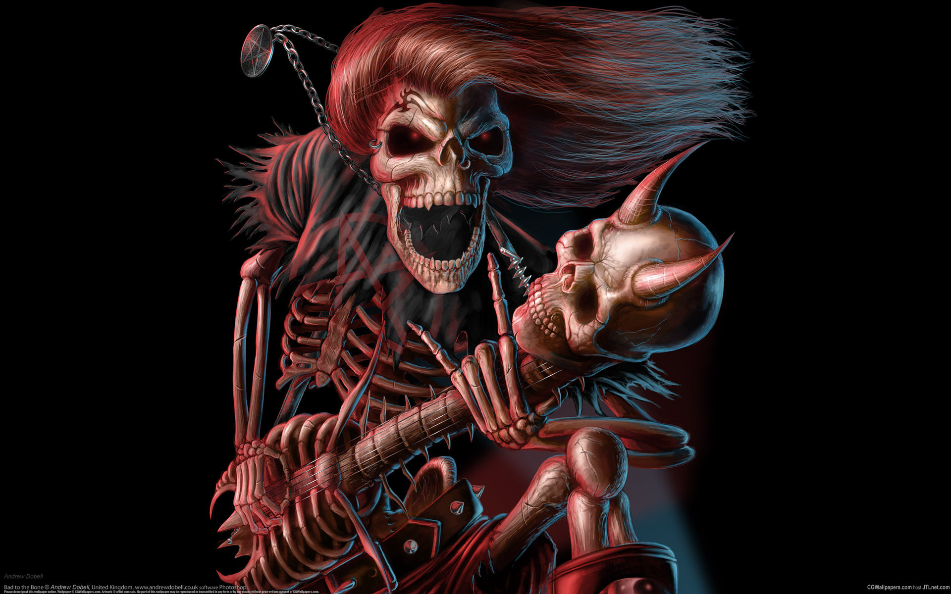 Res: 1920x1200, Dark music reaper skeleton skull guitars evil scary spooky halloween horns  fantasy bones scream smile grimace wallpaper      25756    WallpaperUP