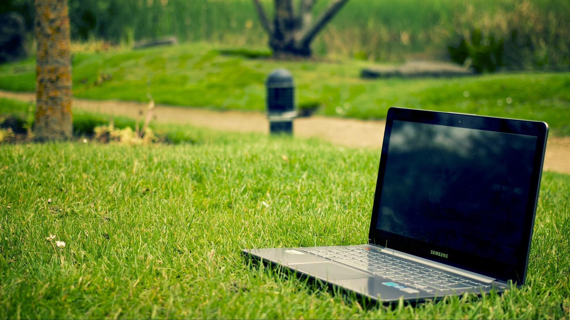 Res: 1920x1080,  Wallpaper laptop, samsung, grass