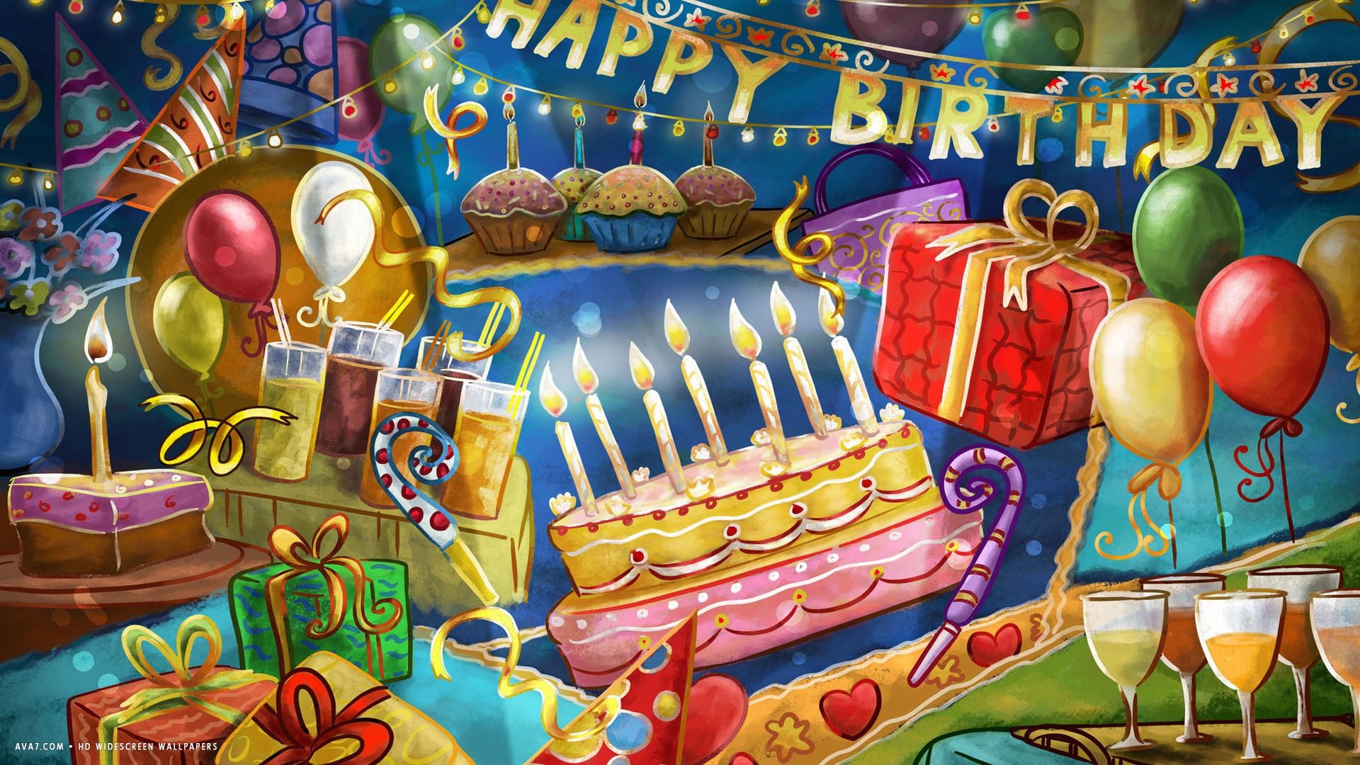 Res: 1920x1080, happy birthday party cake candles confetti balloons party hd widescreen  wallpaper