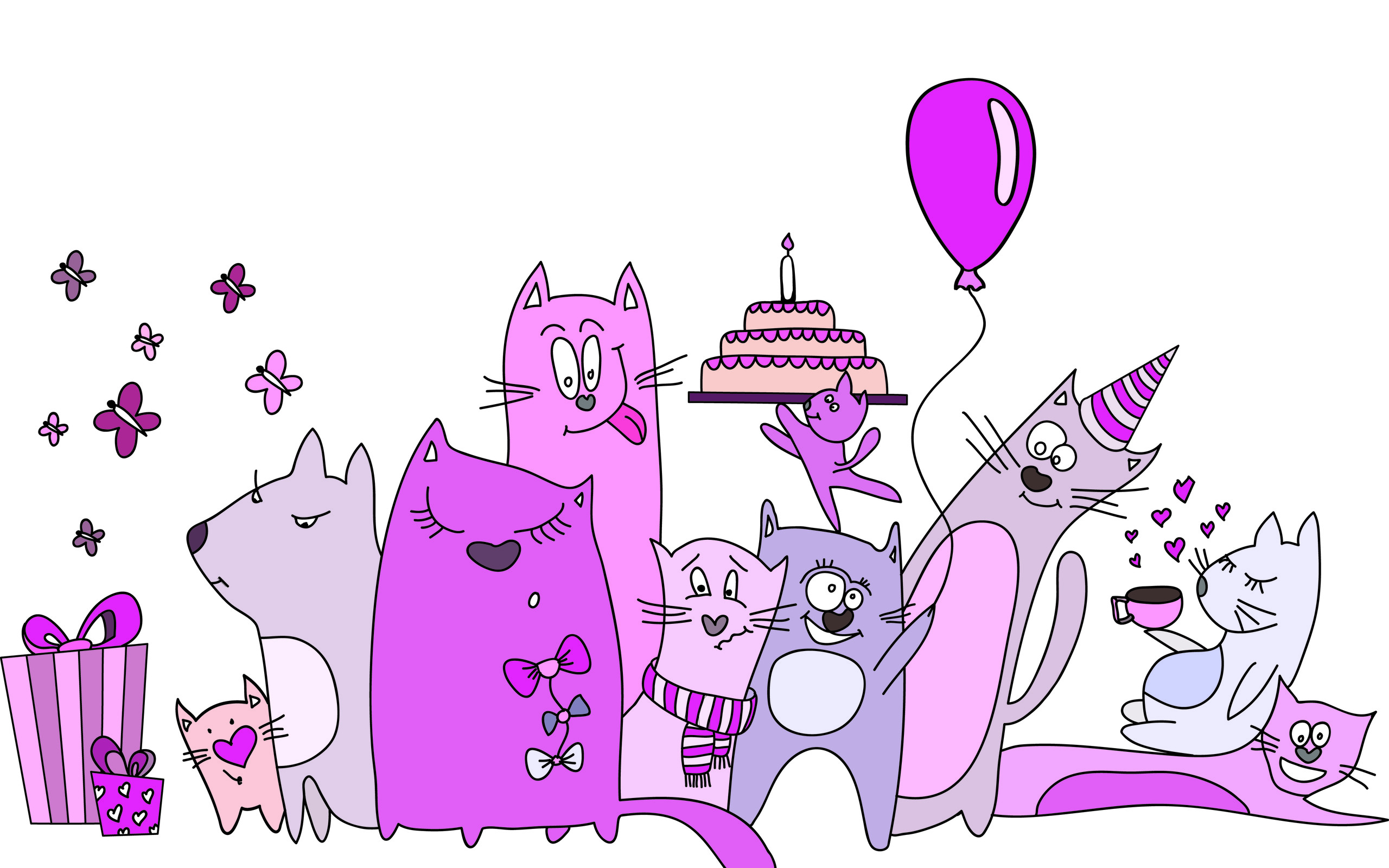 Res: 2560x1600, Cats Birthday Party