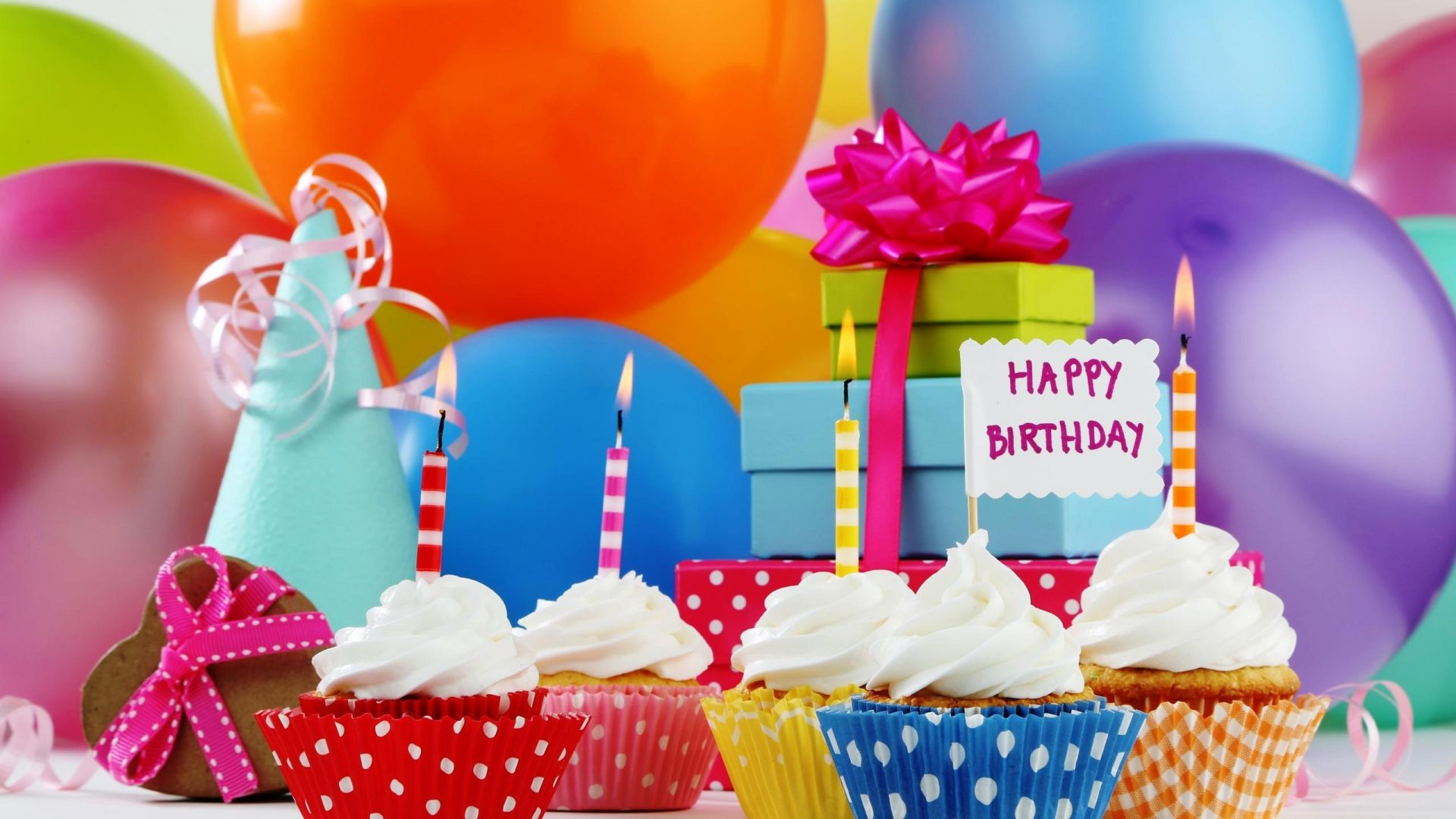 Res: 1920x1080, Happy Birthday Balloon Cupcake Gift Wallpaper | HD Birthday Wallpaper Free  Download ...