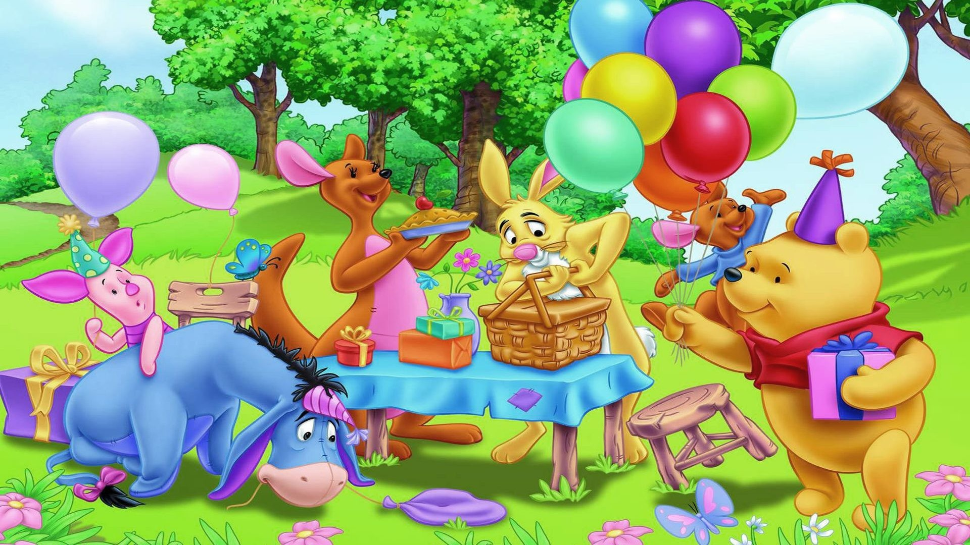 Res: 1920x1080, winnie the pooh birthday wallpaper birthday party winnie the pooh and  friends gifts balloons hd wallpaper 1920×1200 1920×1080