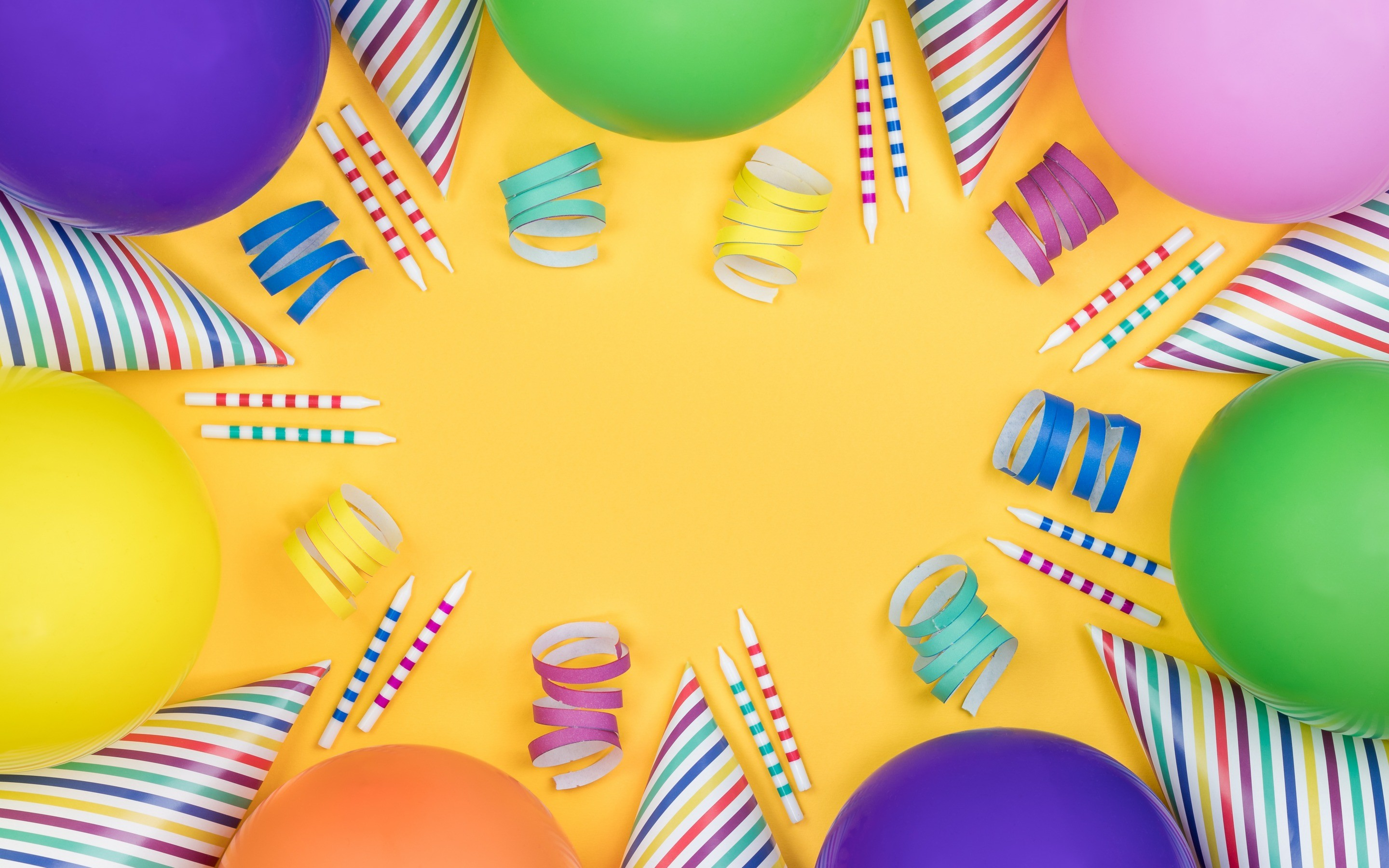 Res: 2880x1800, Happy Birthday, yellow background, multicolored inflatable balls, confetti,  postcard template, congratulations