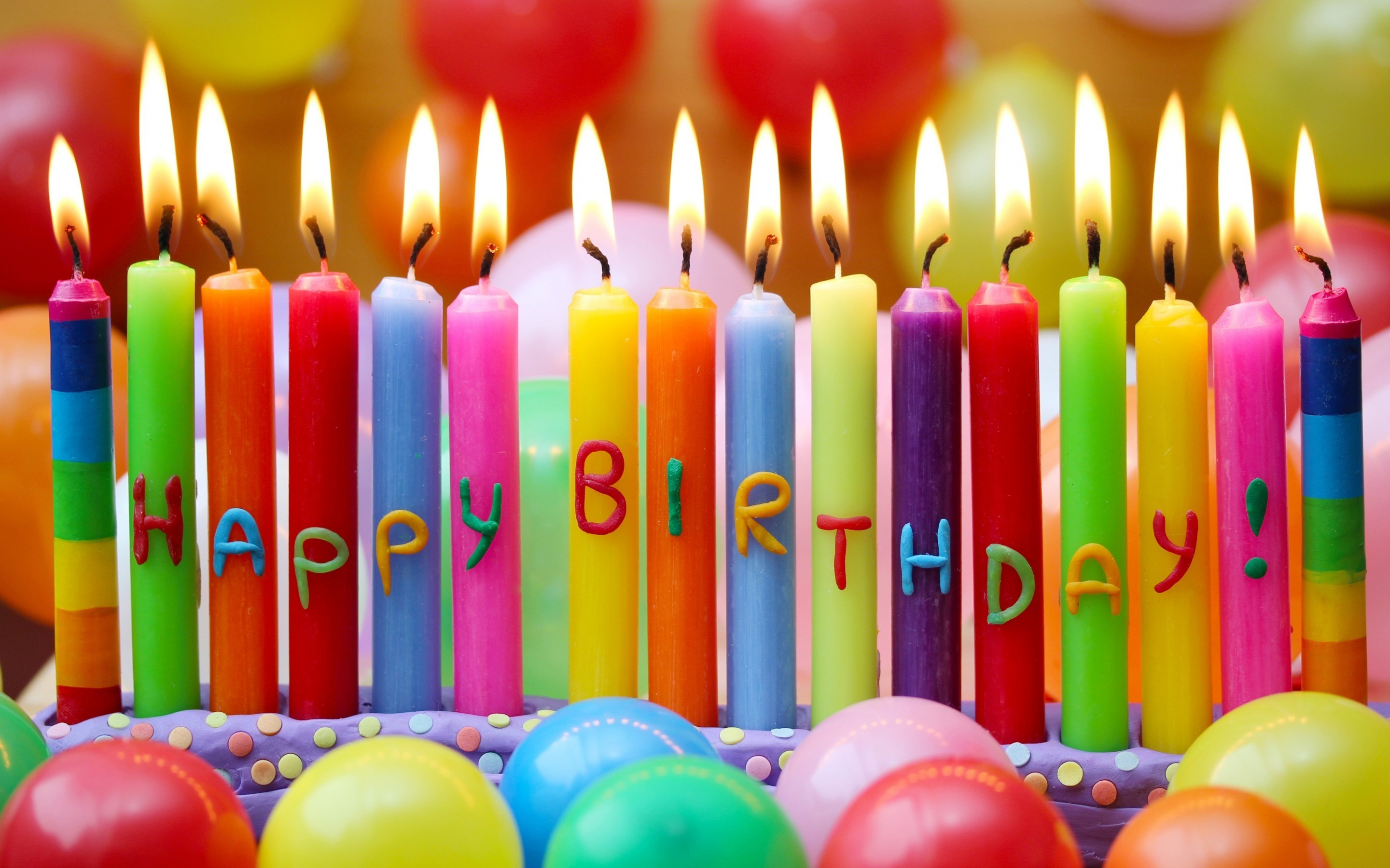 Res: 2880x1800, Creative Birthday Celebration Images with Colorful Candles