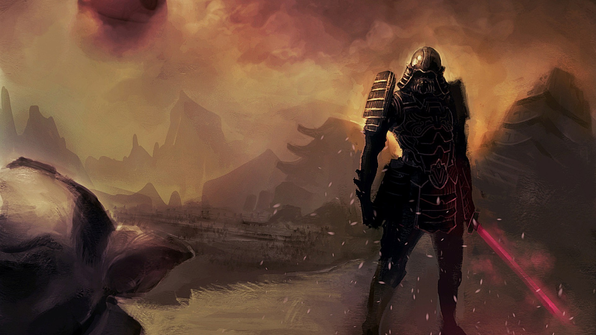 Res: 1920x1080, samurai, Fantasy Art, Star Wars, Crossover, Darso, Dianos Wallpapers HD /  Desktop and Mobile Backgrounds