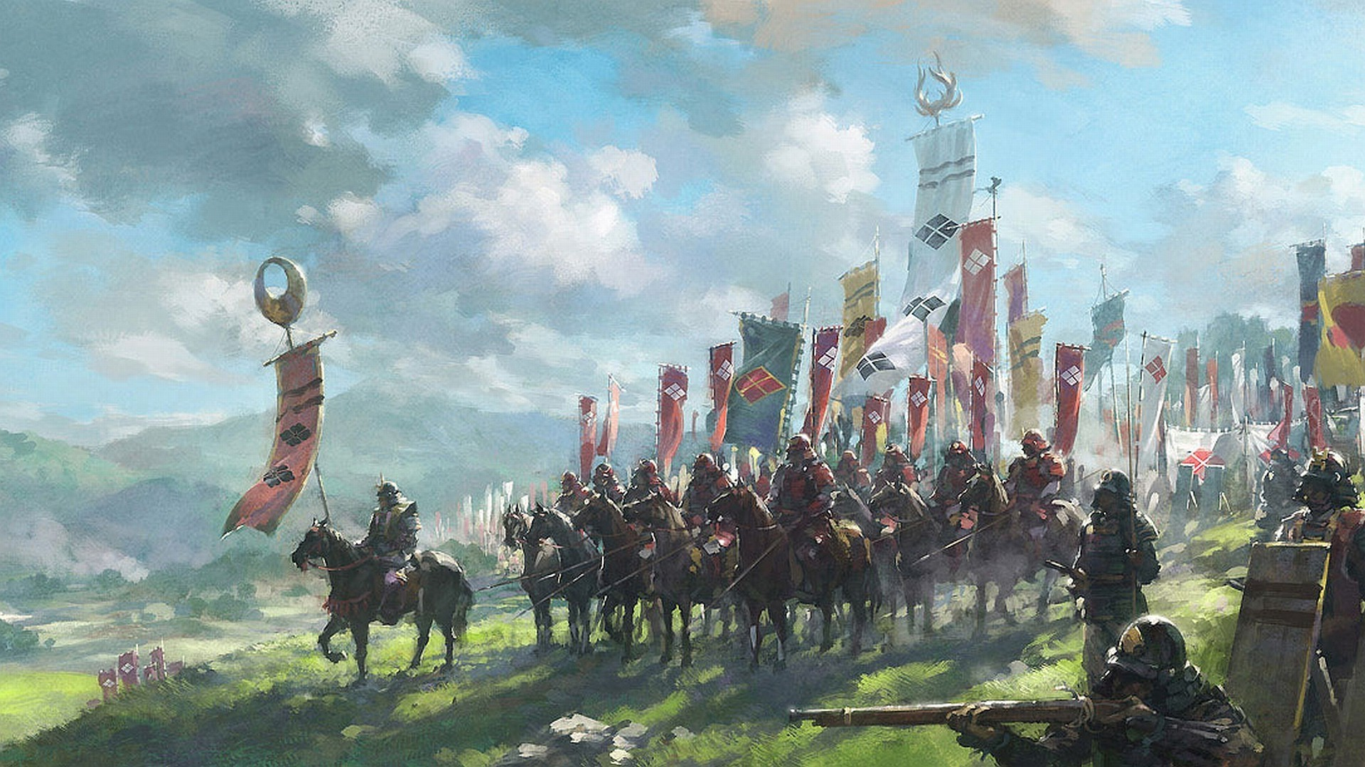 Res: 1920x1080, samurai battle war flag armor war horse japan Wallpapers HD / Desktop and  Mobile Backgrounds