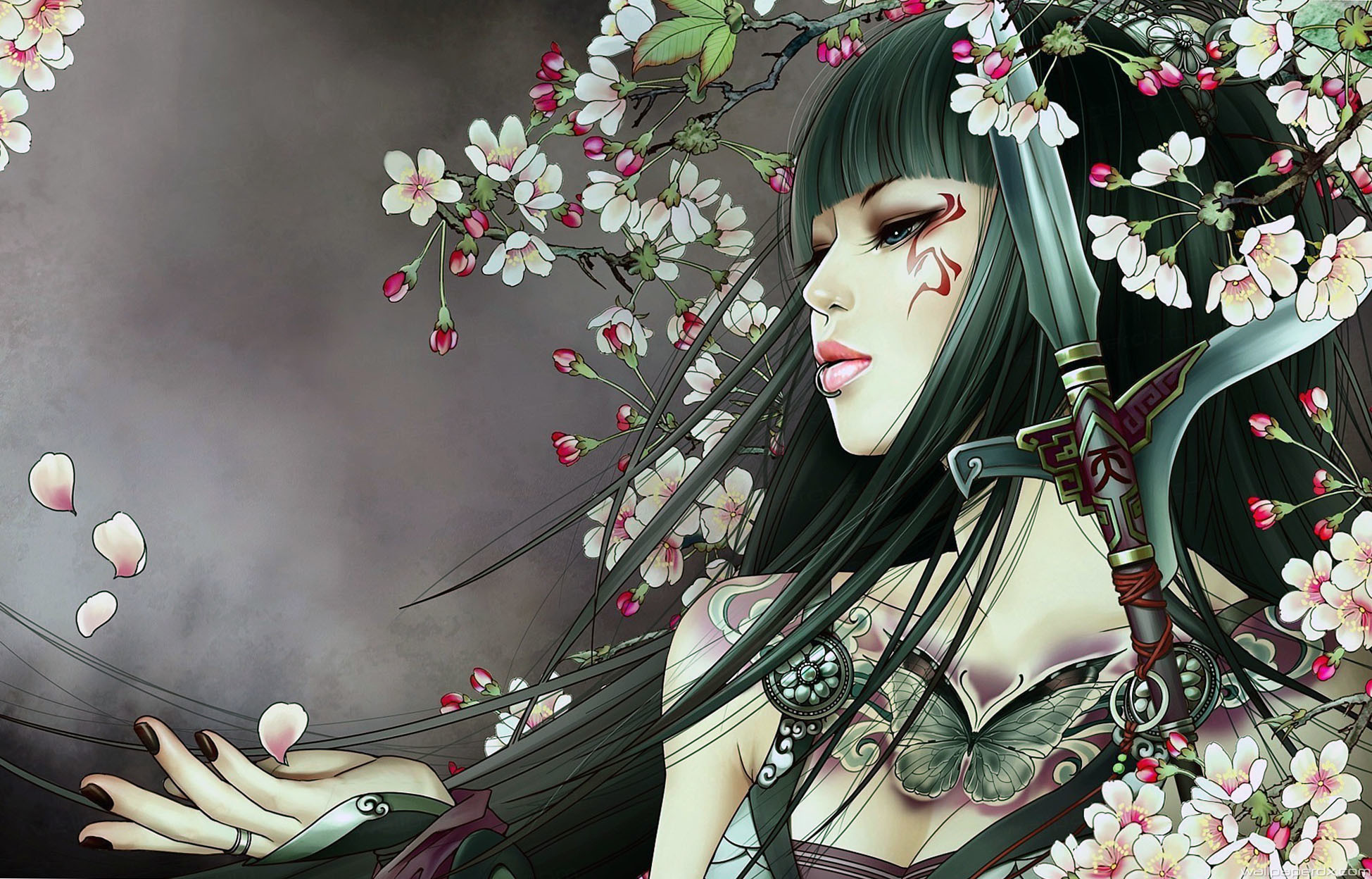 Res: 1949x1248, samurai girl with tattoo full hd wallpaper
